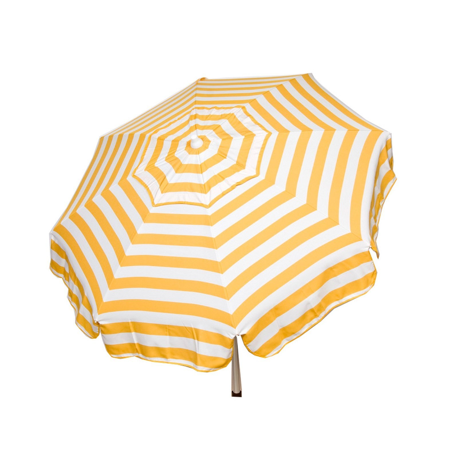 Italian 6 foot Push/Tilt Umbrella Acrylic Stripes Yellow and White - Bar Pole