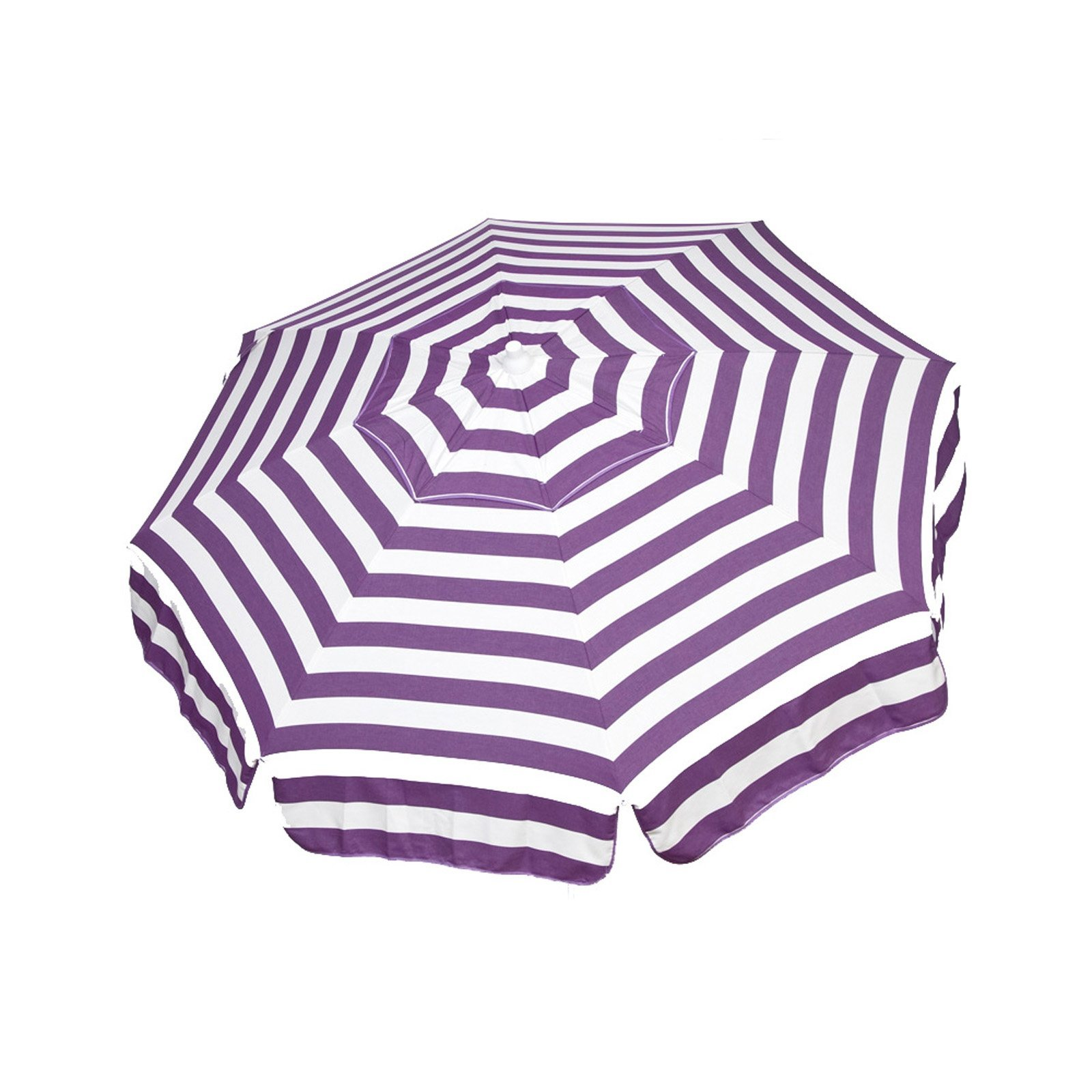 Italian 6 foot Push/Tilt Umbrella Acrylic Stripes Purple and White - Patio Pole