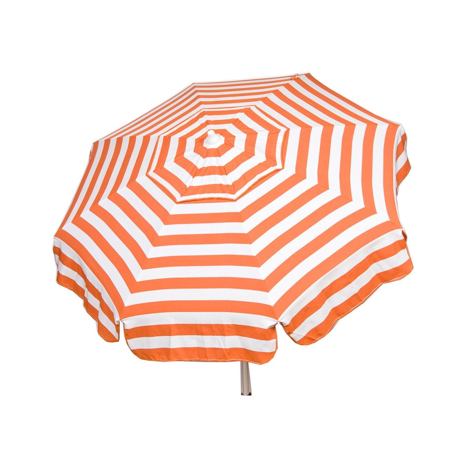 Italian 6 foot Push/Tilt Umbrella Acrylic Stripes Orange and White - Bar Pole