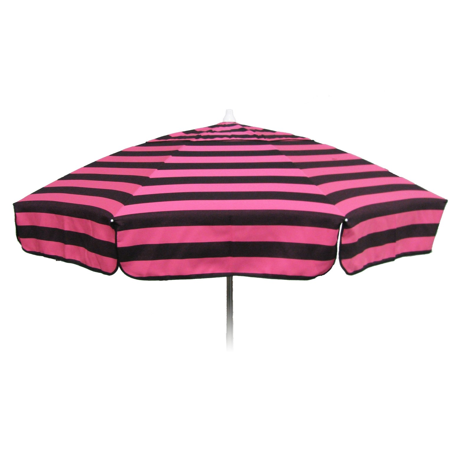 Italian 6 foot Push/Tilt Umbrella Acrylic Stripes Pink and Black - Patio Pole