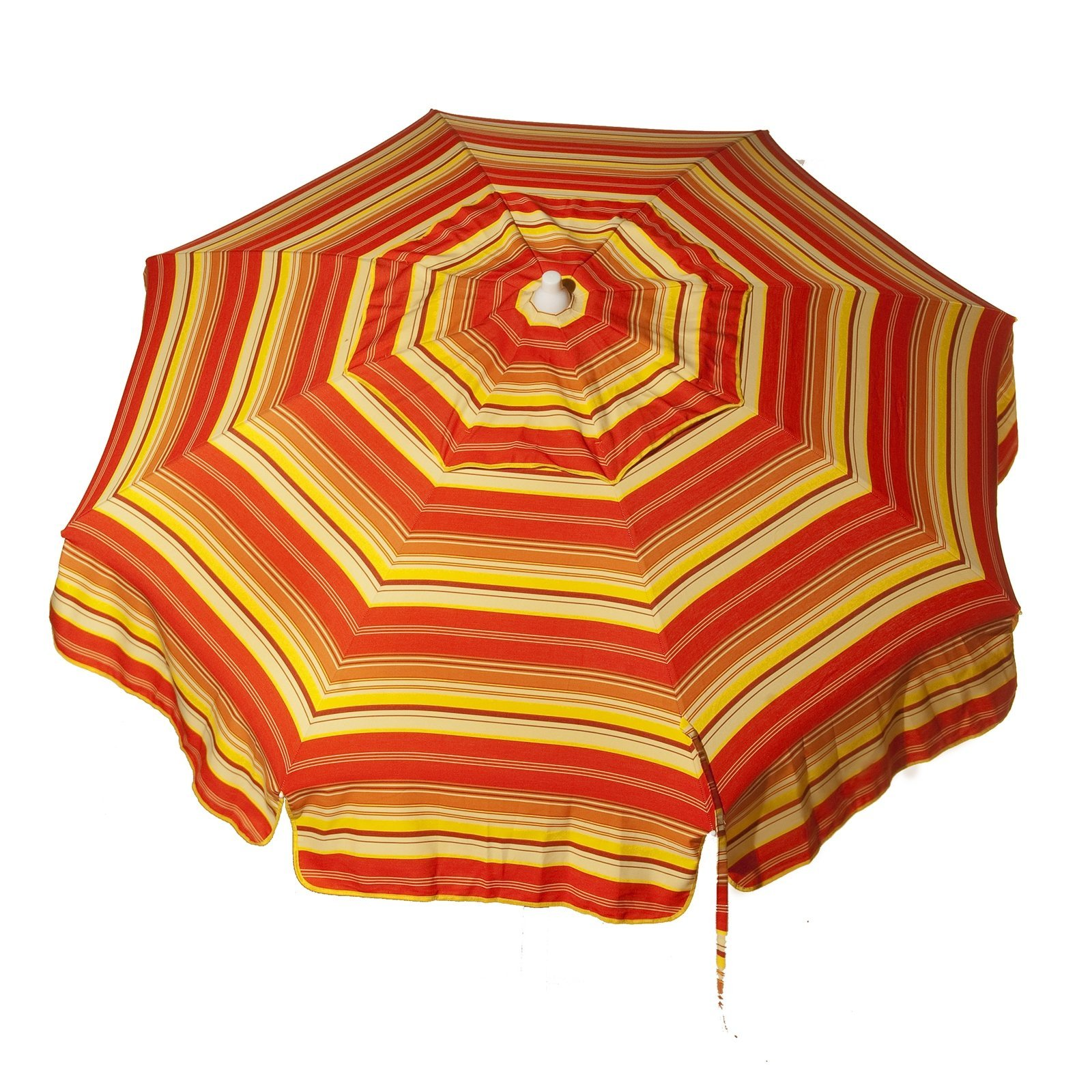 Italian 6 foot Push/Tilt Umbrella Acrylic Stripes Red, Orange and Yellow - Patio Pole