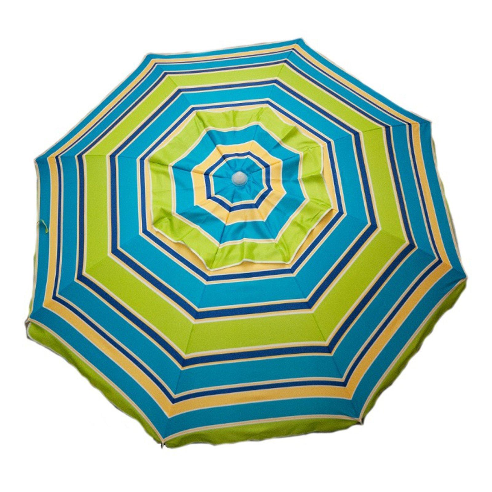 7ft Fun Colored Lime Stripe Beach Umbrella