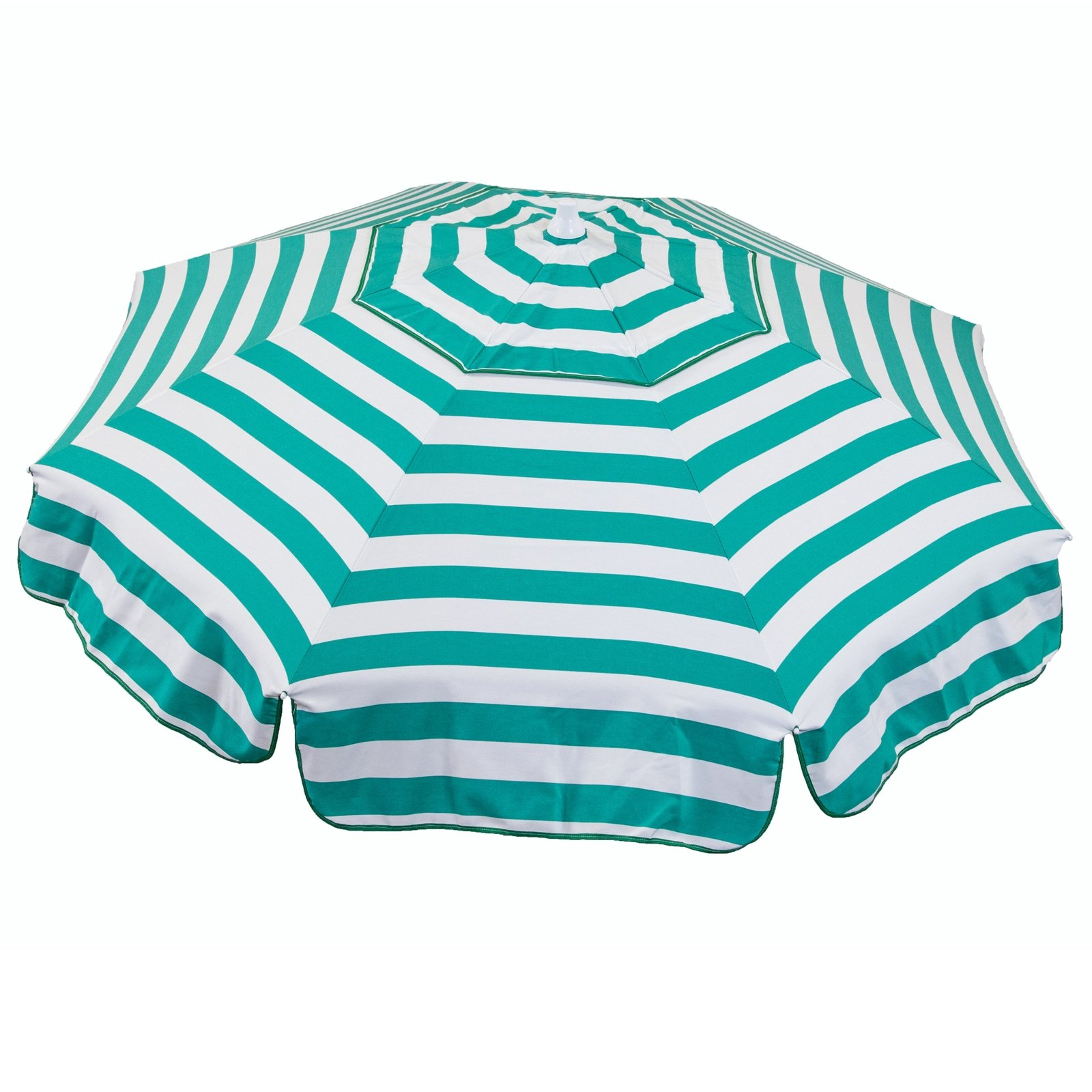 Italian 6 foot Push/Tilt Umbrella Acrylic Stripes Jade Green and White - Beach Pole