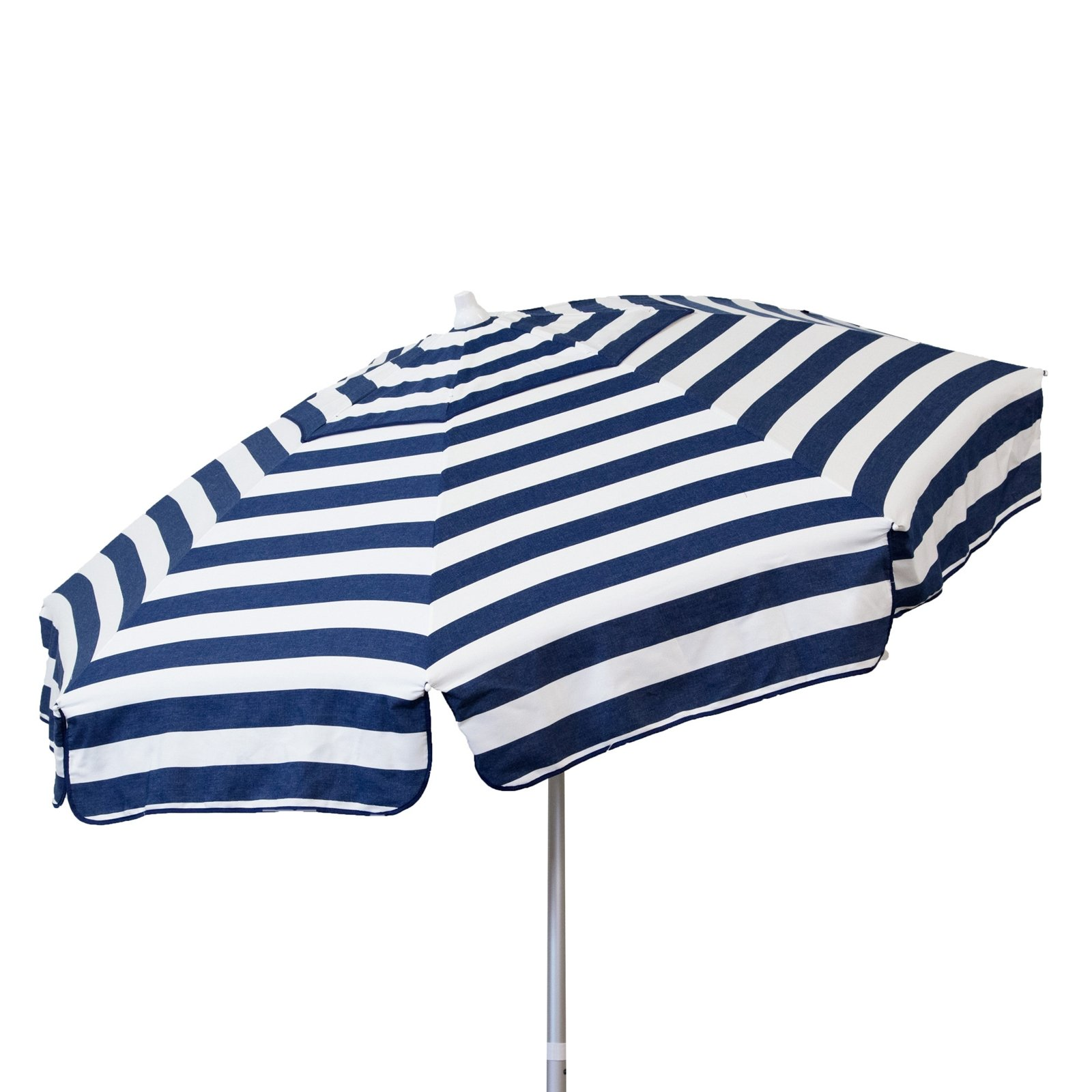 Italian 6 foot Push/Tilt Umbrella Acrylic Stripes Navy Blue and White - Beach Pole