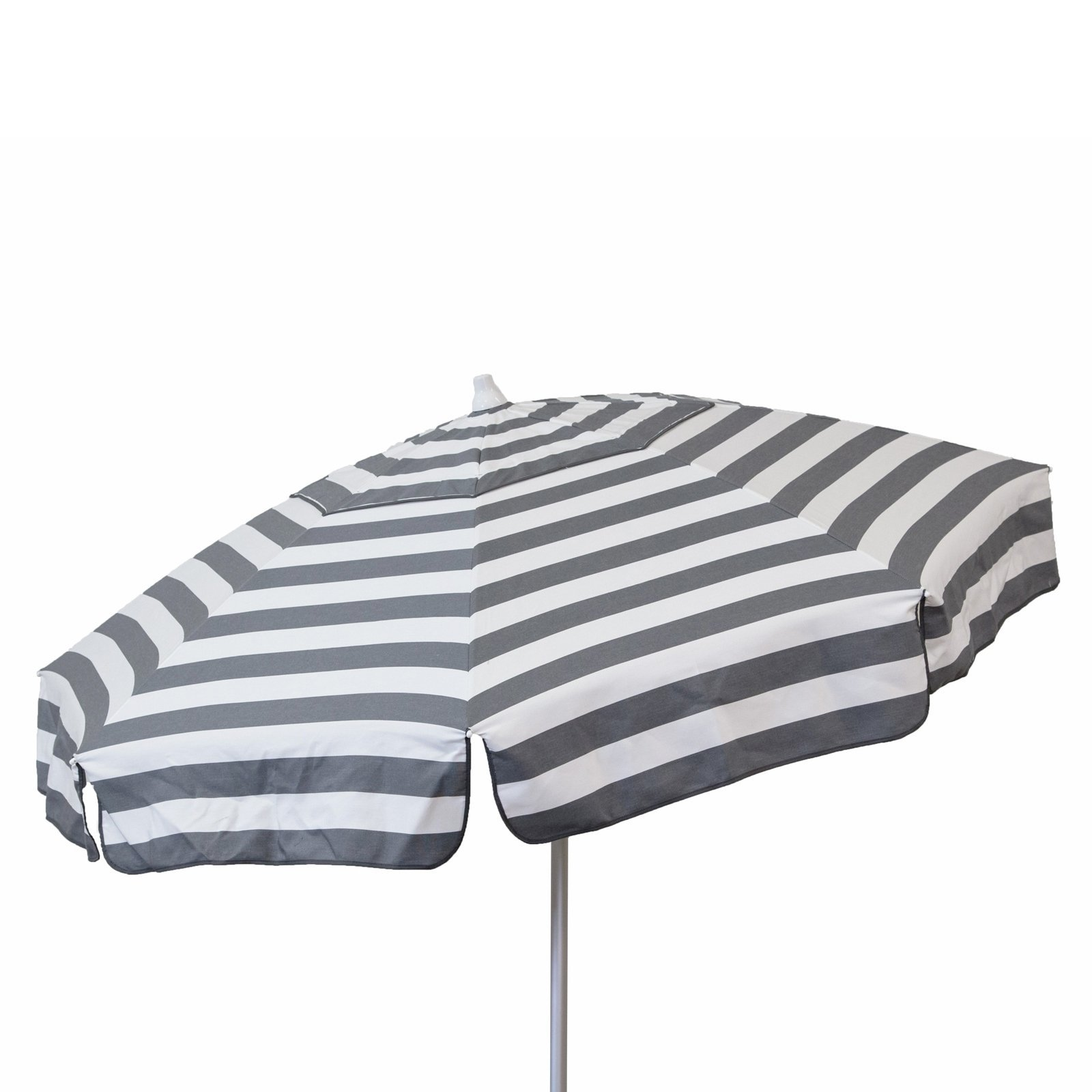 Italian 6 foot Push/Tilt Umbrella Acrylic Stripes Steel Grey and White - Patio Pole