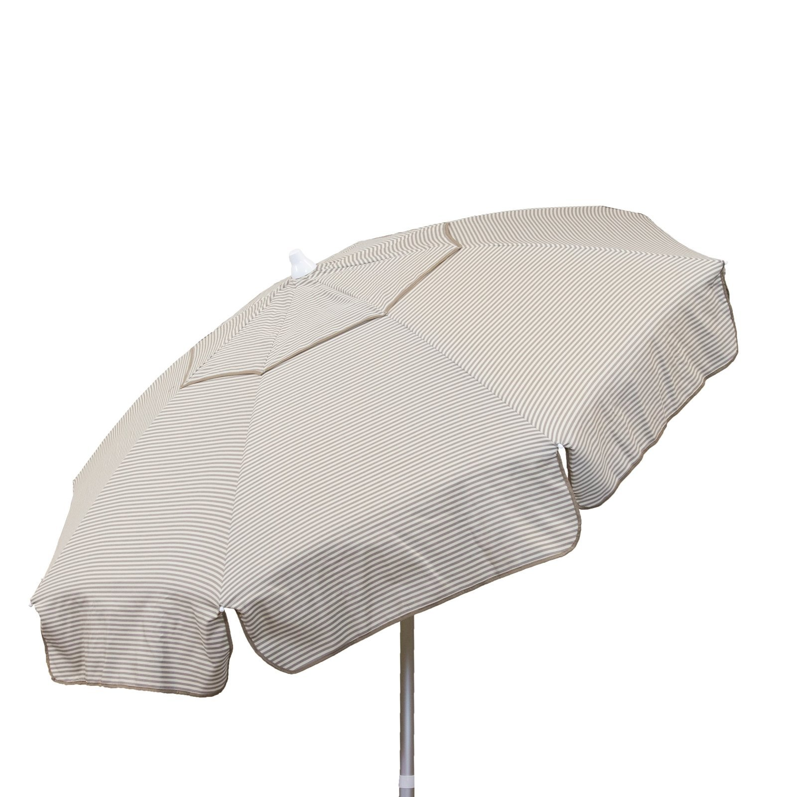 Euro 6 foot Umbrella Acrylic Thin Stripes Vanilla Taupe - Beach Pole