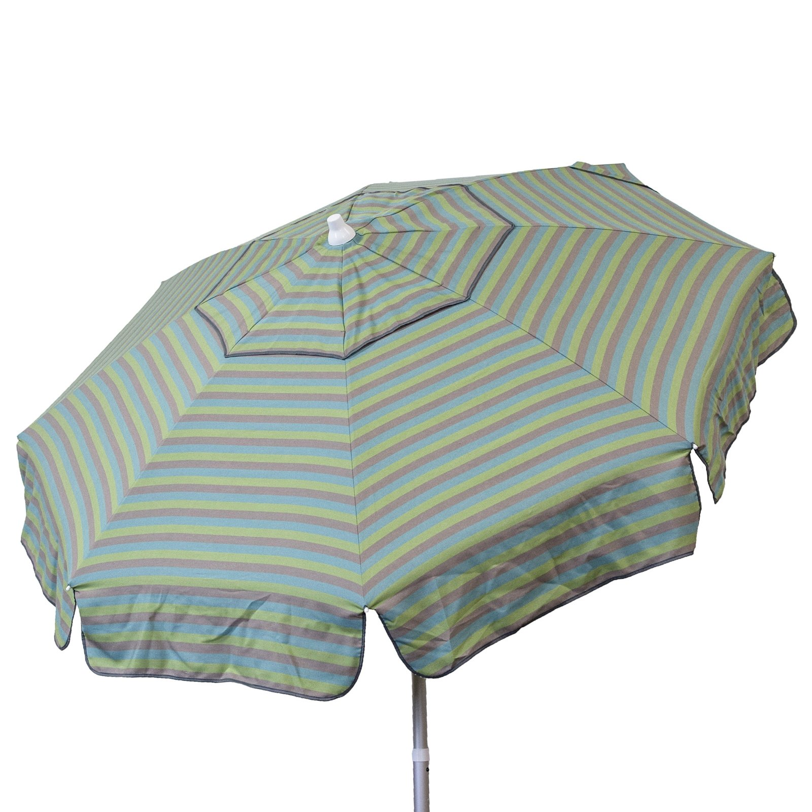 Euro 6 foot Umbrella Acrylic Blue Taupe Olive Stripes - Patio Pole
