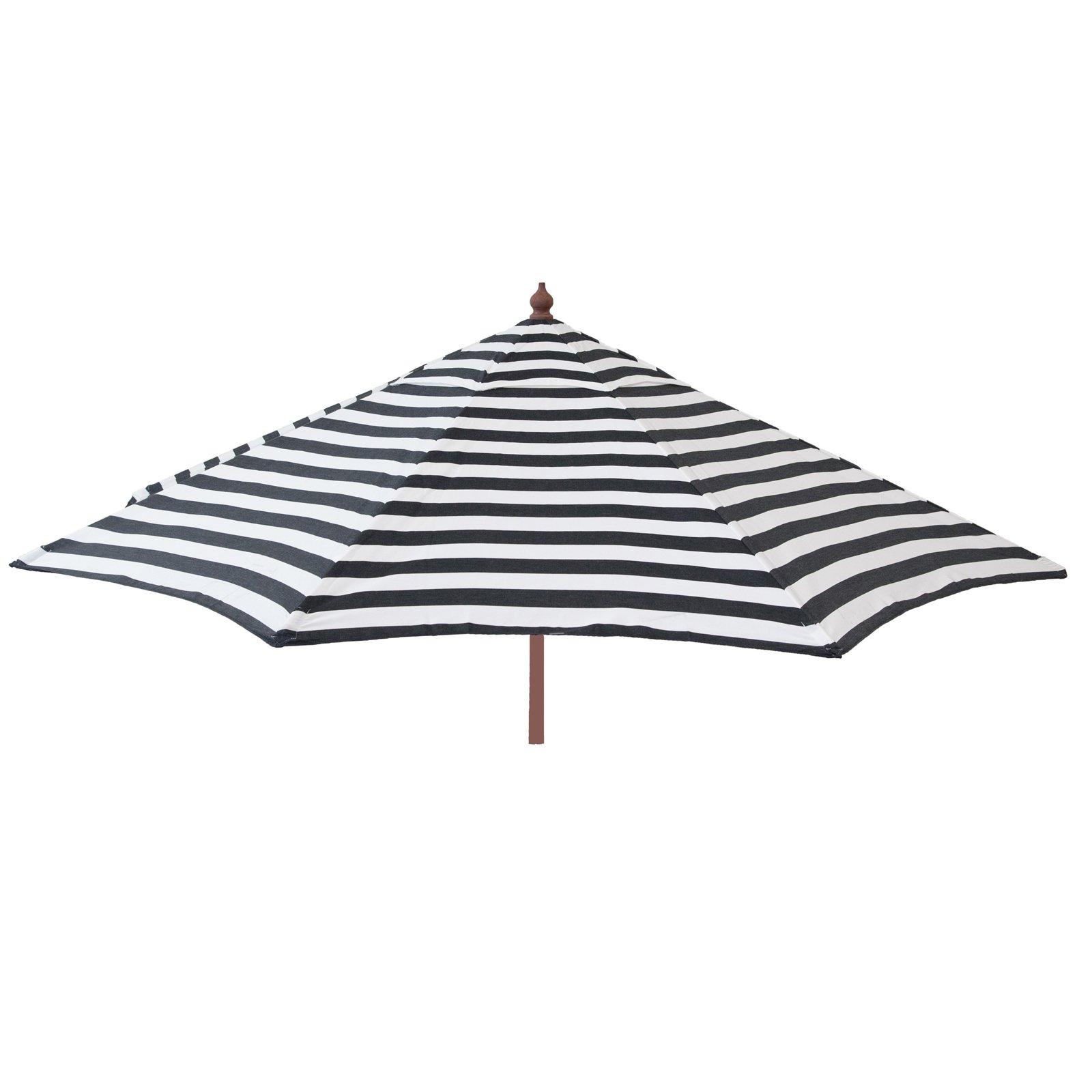 9ft Tilt Italian Market Umbrella Home Patio Canopy Sun Shelter - Black and White