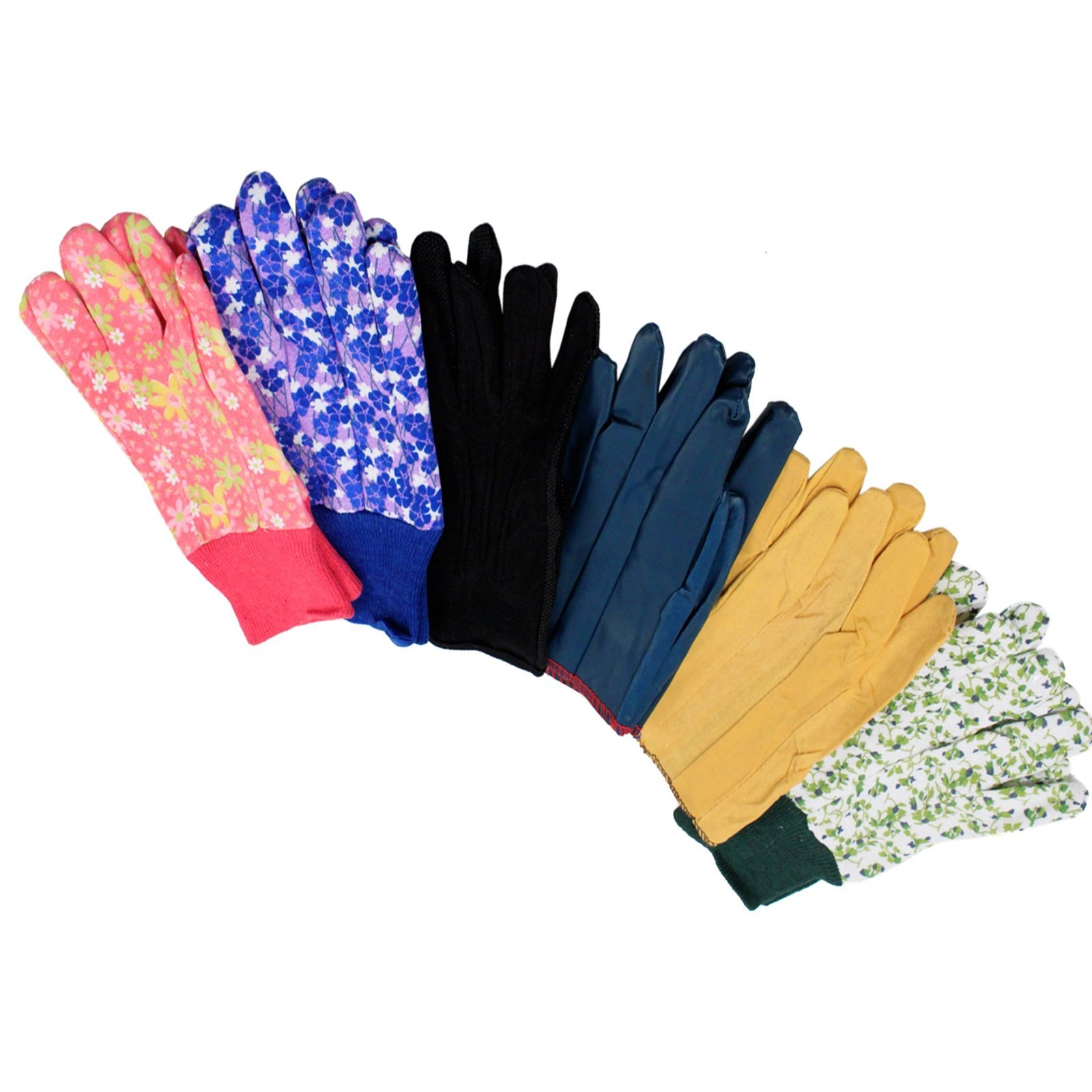 6pk Assorted Gardening Gloves Universal Fit Durable Multi-Design