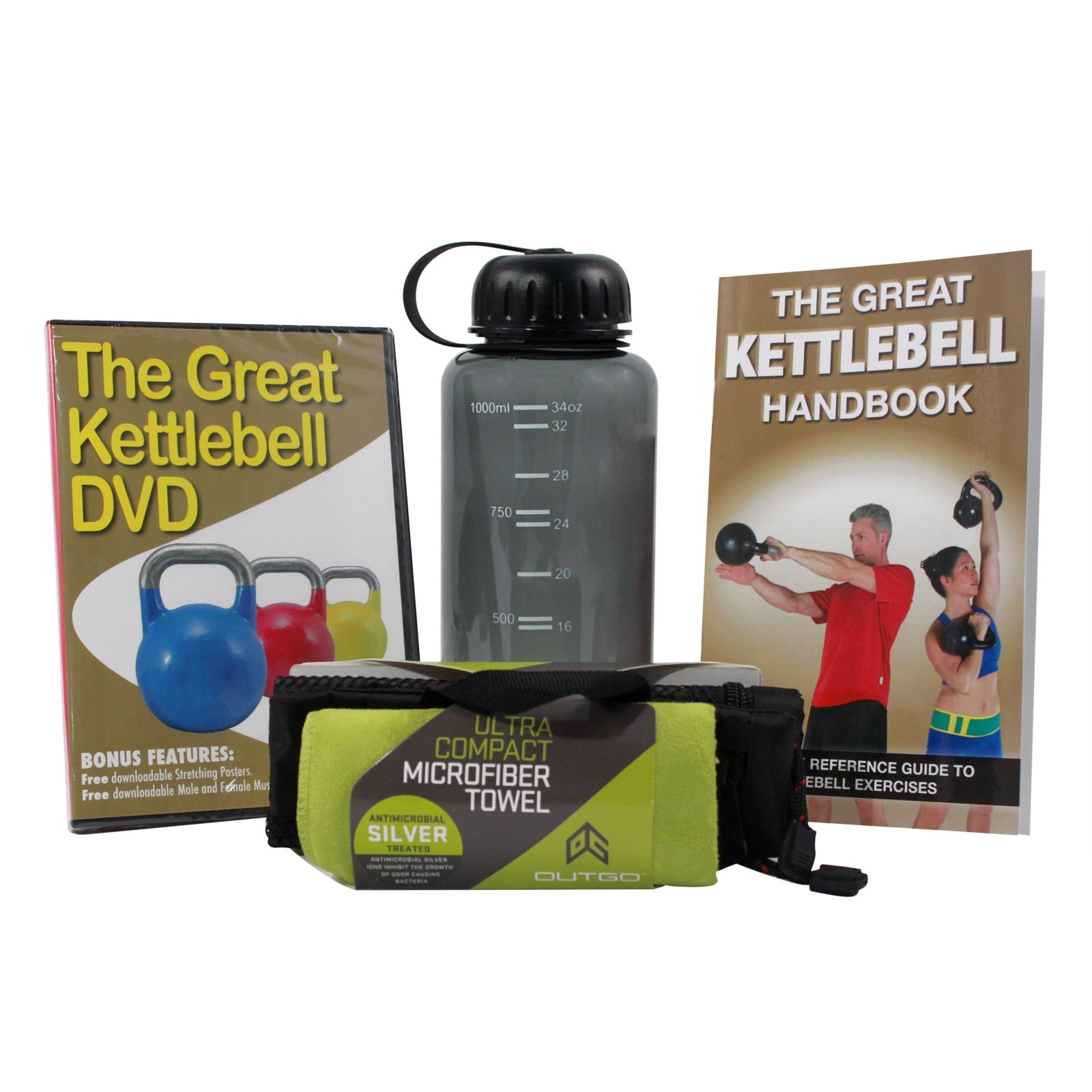 Productive Fitness Kettlebell Exercises DVD Handbook Towel and Water Bottle Set