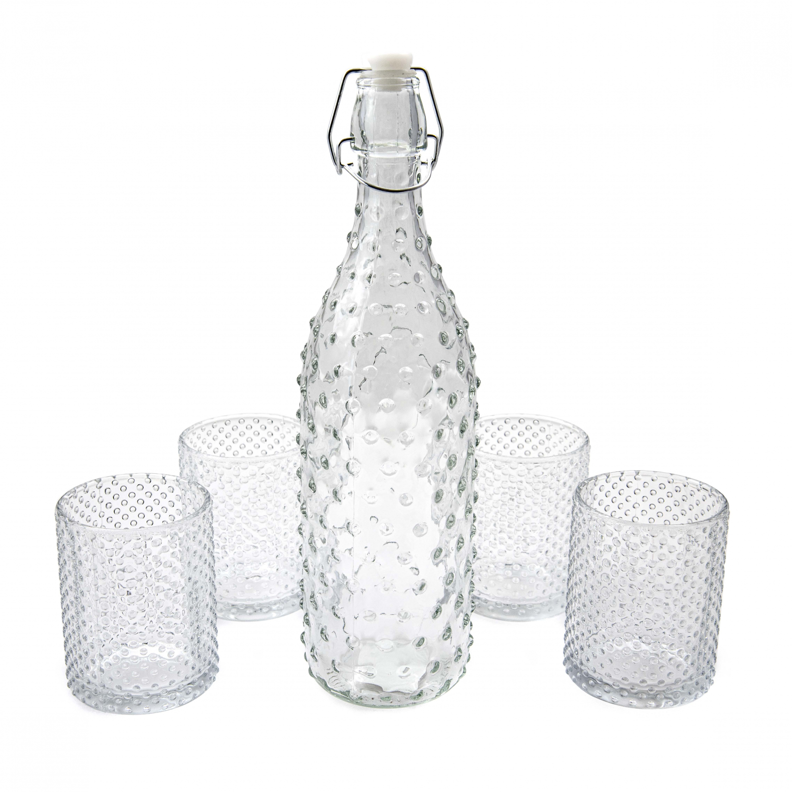Beille 34oz Glass Bottle and 10oz Drinking Glass Set