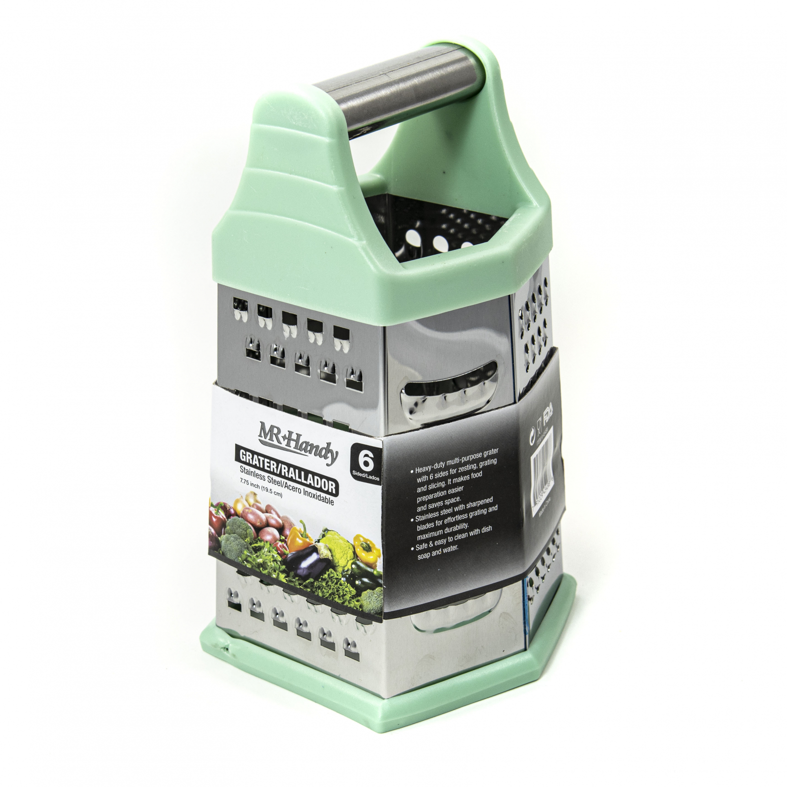 Beille 6 Side Stainless Steel Grater Top Handle Zester Green