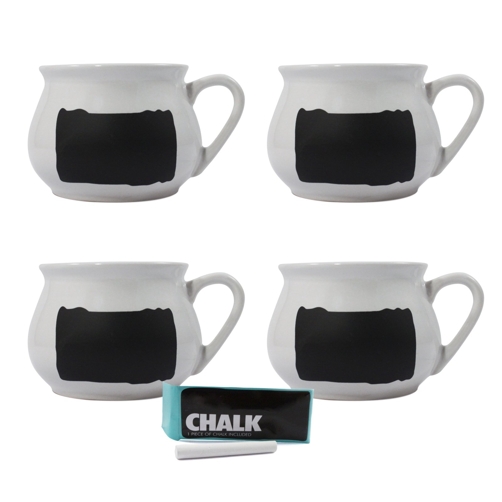 16oz Chalkboard Soup Mugs set of 4 with chalk