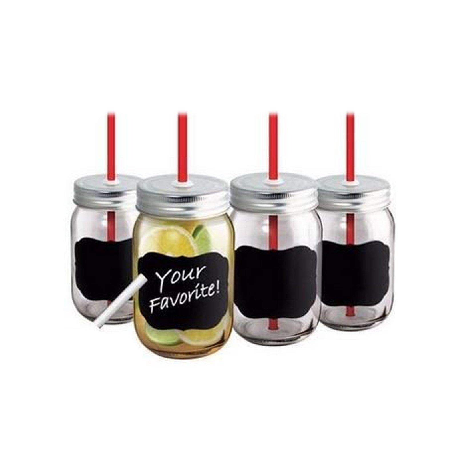 Chalkboard Jar Glasses 16 ounces Set of 4 Dishwasher Safe