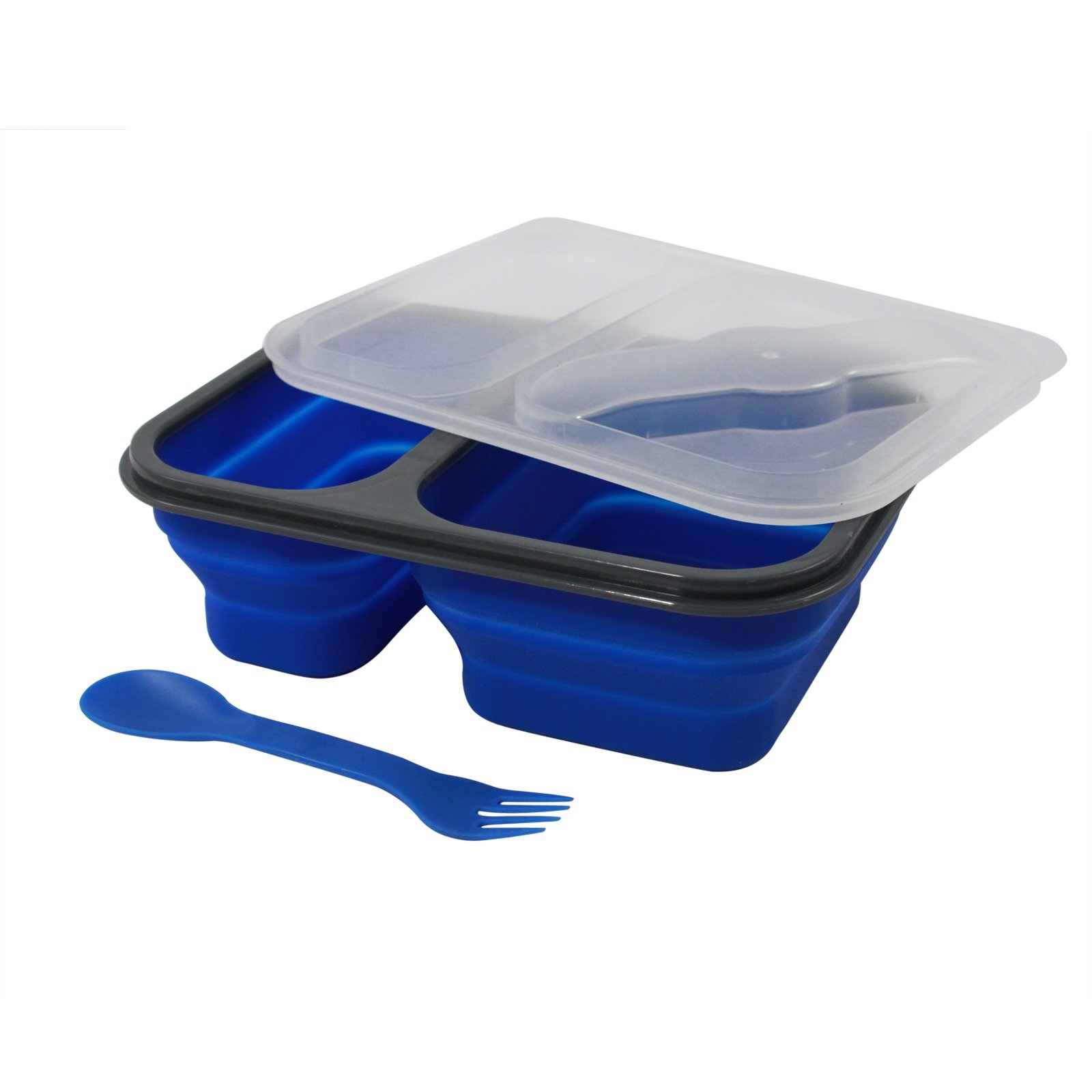 Two Compartment Silicon Collapsible Food Container w Utensils