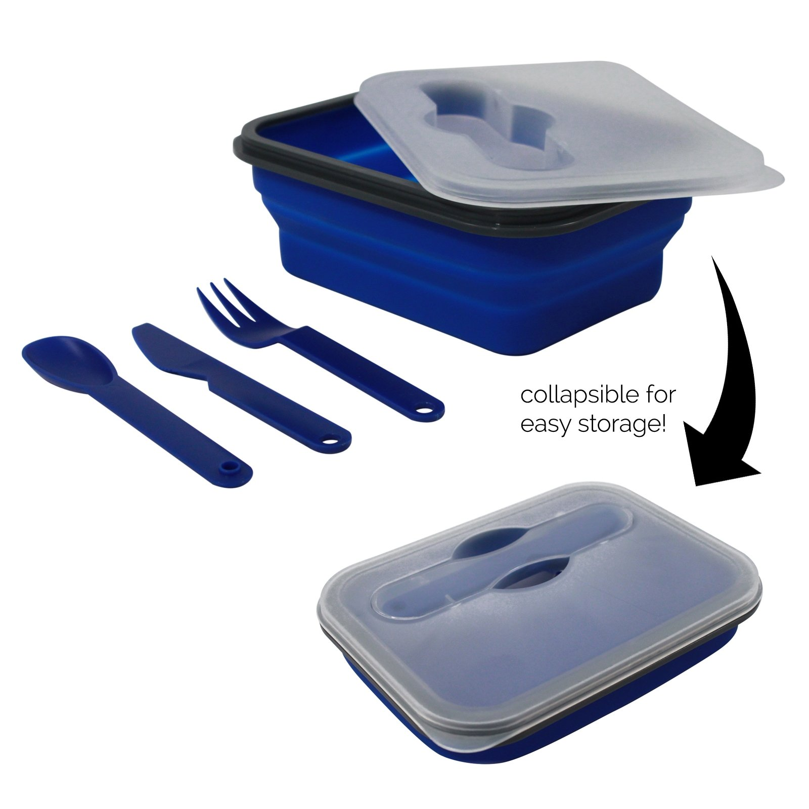 Universal 6.75 x 5 Inch Collapsible Food Storage Container and Utensil Set
