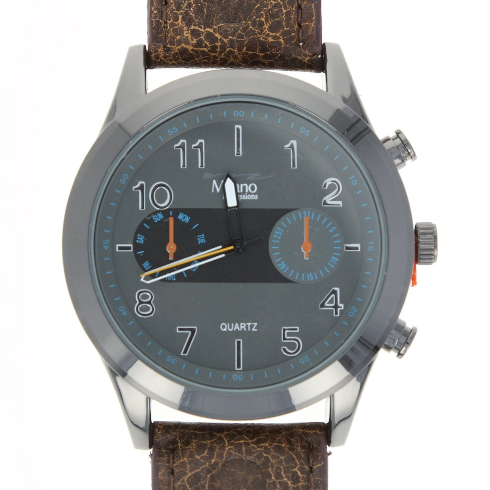 Milano Genesis Mens Watch Leather Band Quartz - Brown