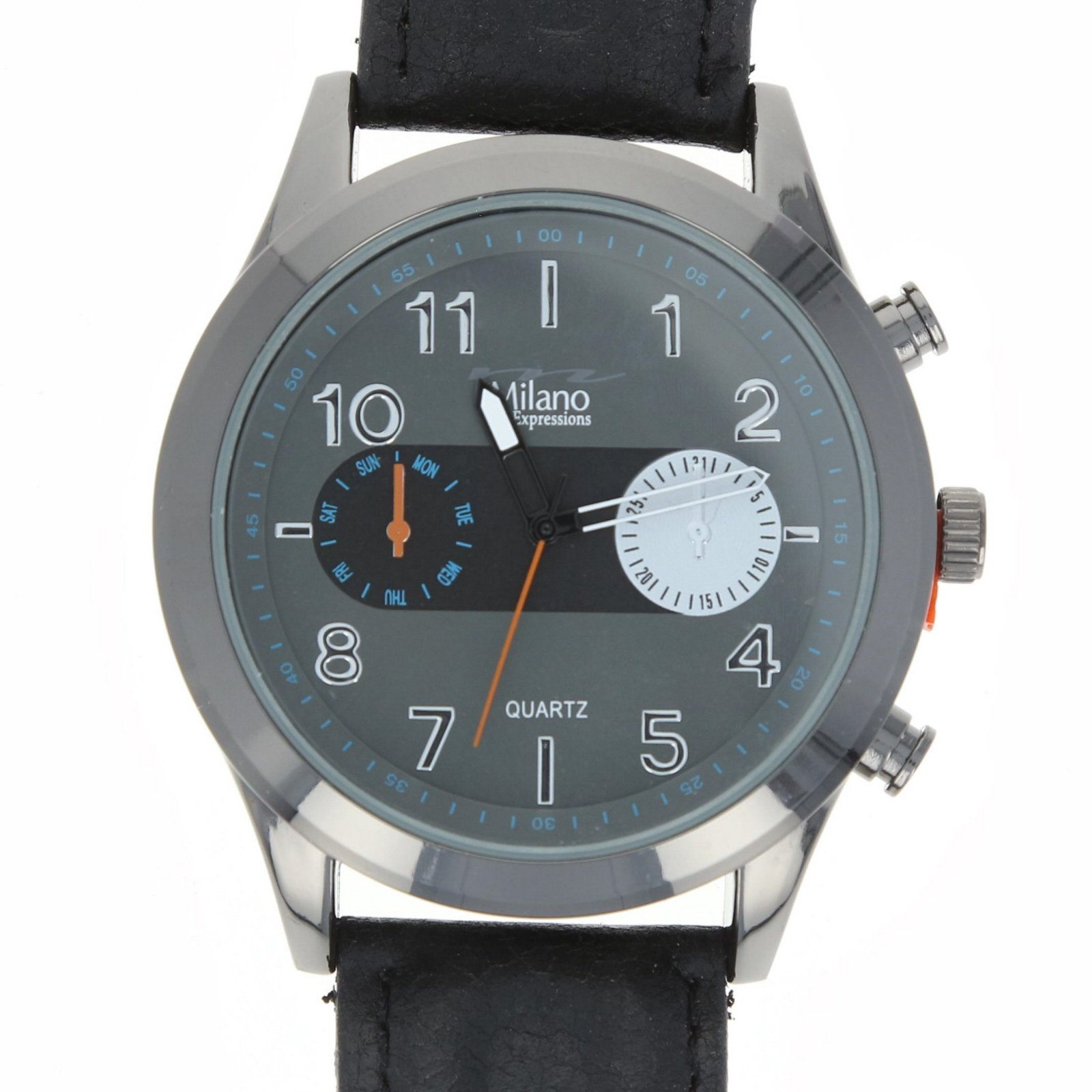Milano Genesis Mens Watch Leather Time Piece - Black
