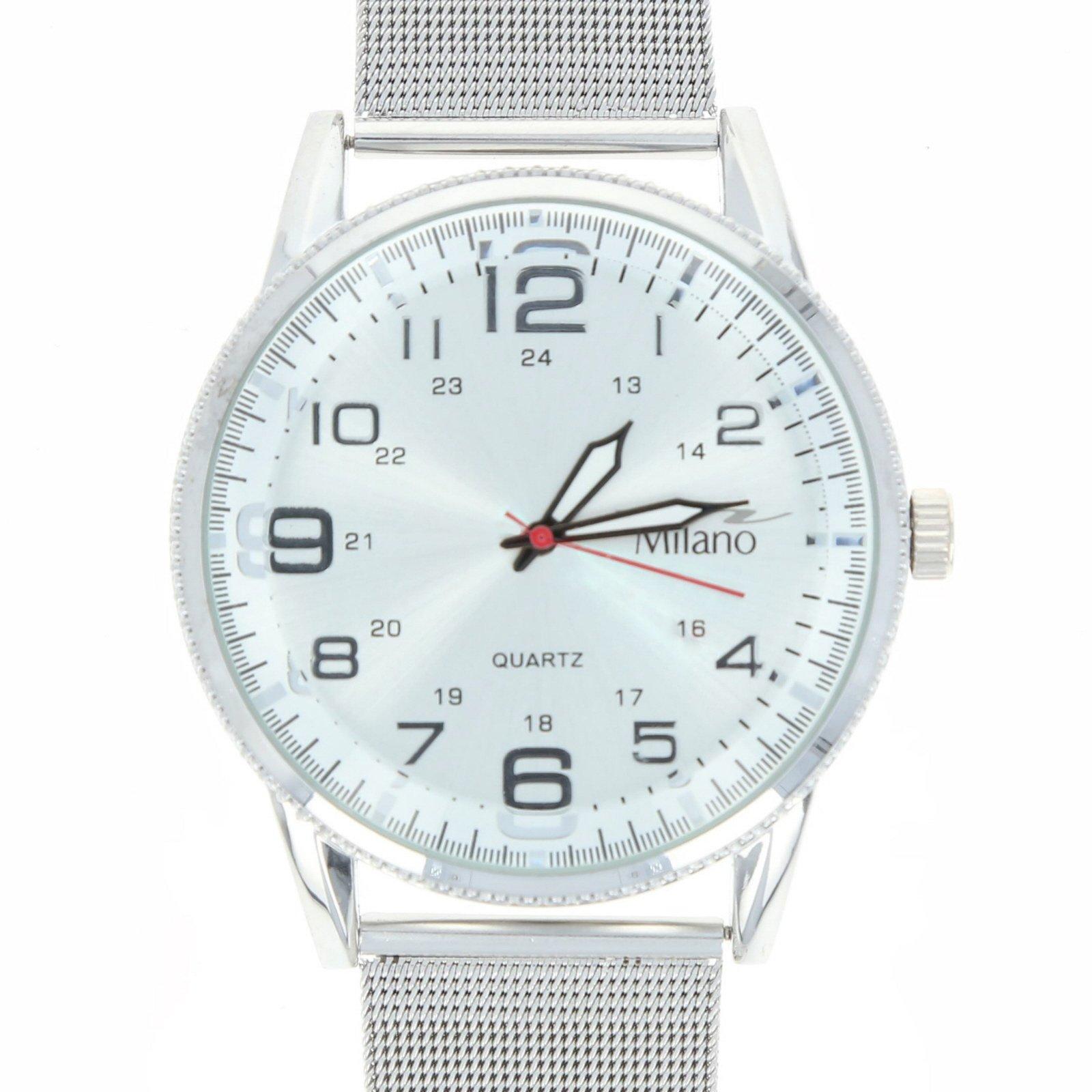 Milano Legacy Mens Time Piece Mesh Metal Strap Classic Quartz Watch - Silver