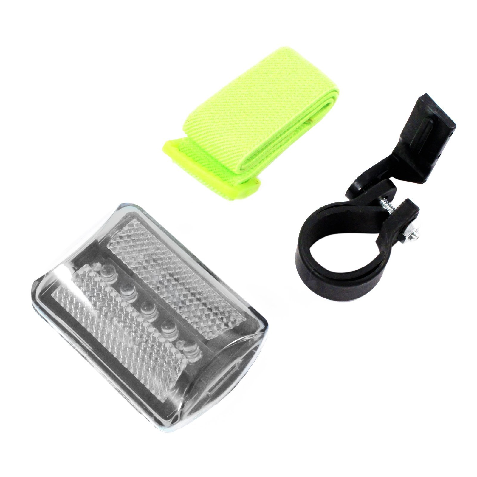 7 Function 5 LED White Safety Flasher with Strap and Bike Attachment