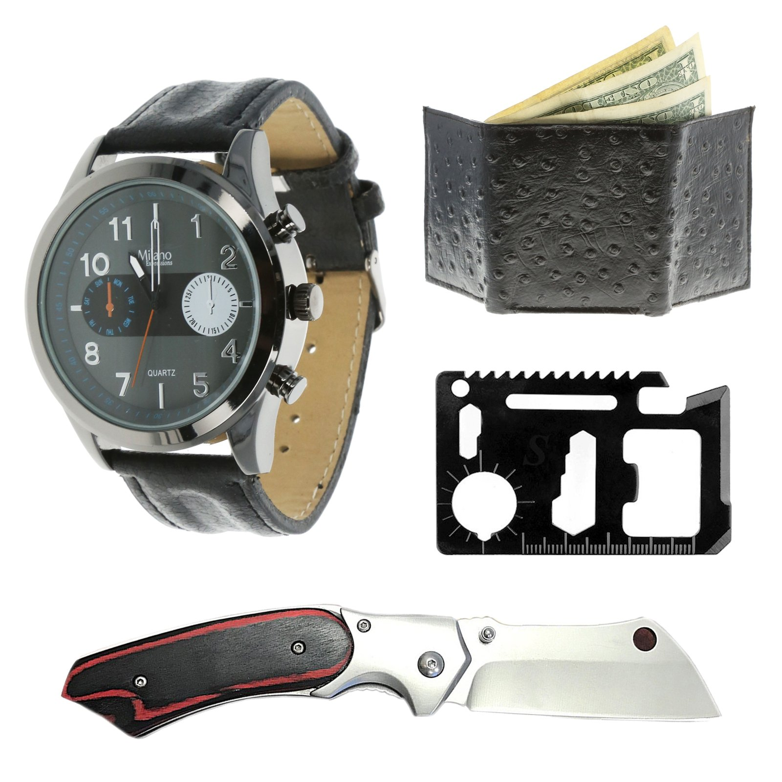 Specter 4pc Gentleman Knife Gift Set With Watch Wallet and Multi Tool - Obsidian