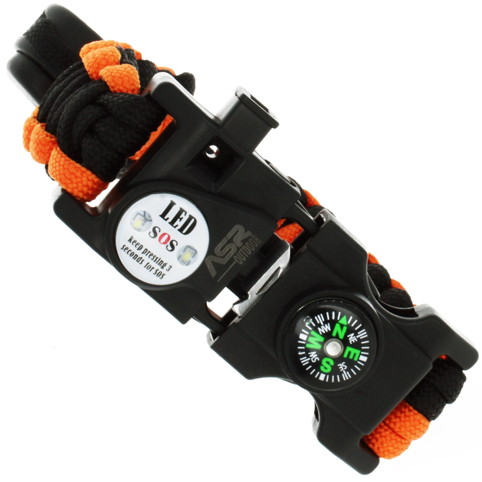 ASR Outdoor- Multitool Paracord Survival Bracelet - Orange and Black