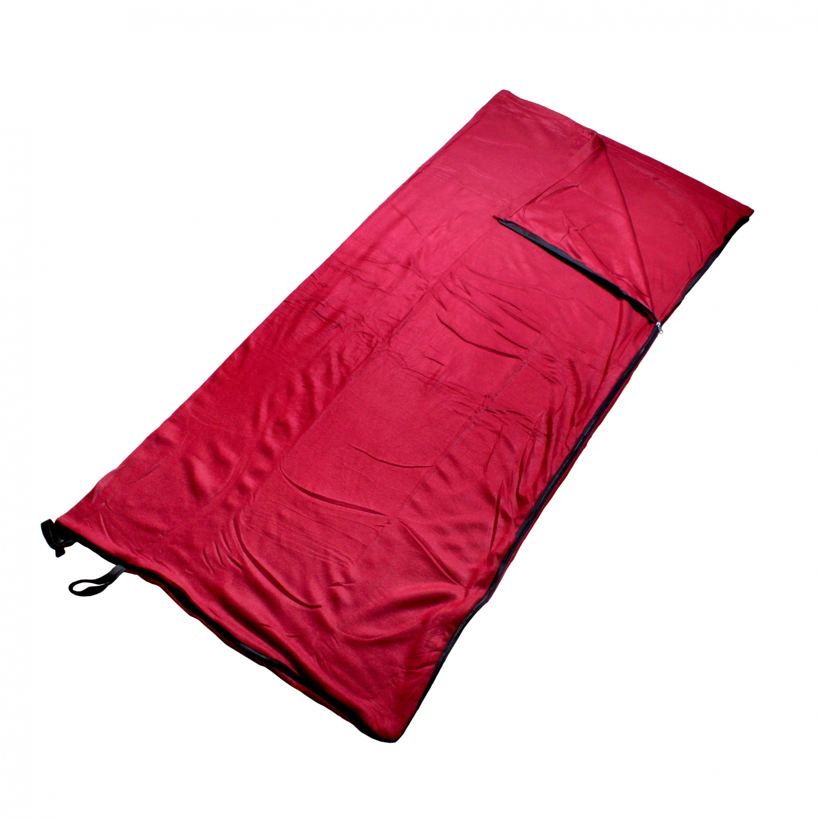 ASR Outdoor Cotton Fleece Fabric Blanket Winter Summer Camping Sleeping Bag Liner with Nylon Storage Bag, Red, 75 x 66 inches