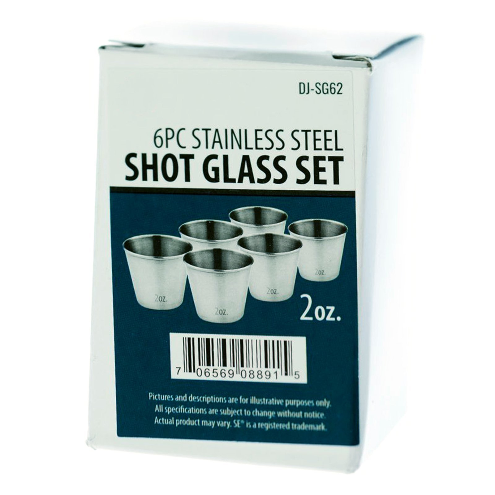 6pc Stainless Steel Shot Glass Set