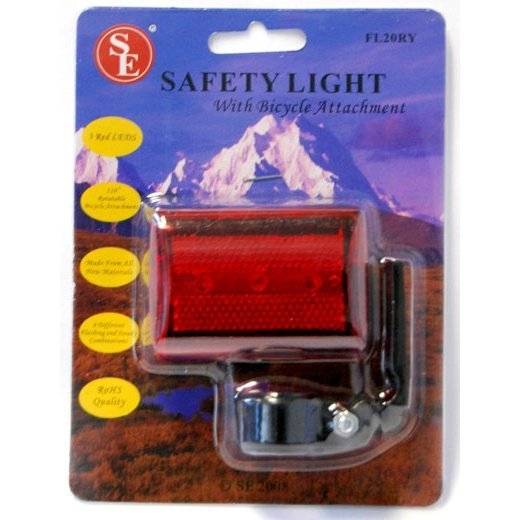 Bicycle Safety Tail or Head Light LED with Easy Clip Bike Mount Attachment
