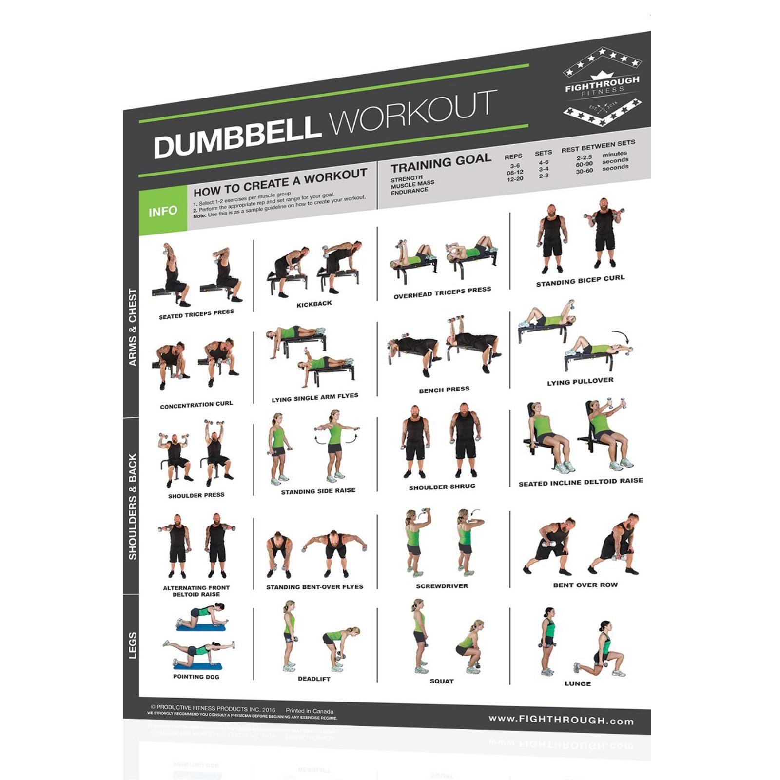 Productive Fitness Fighthrough Series Dumbbell Poster