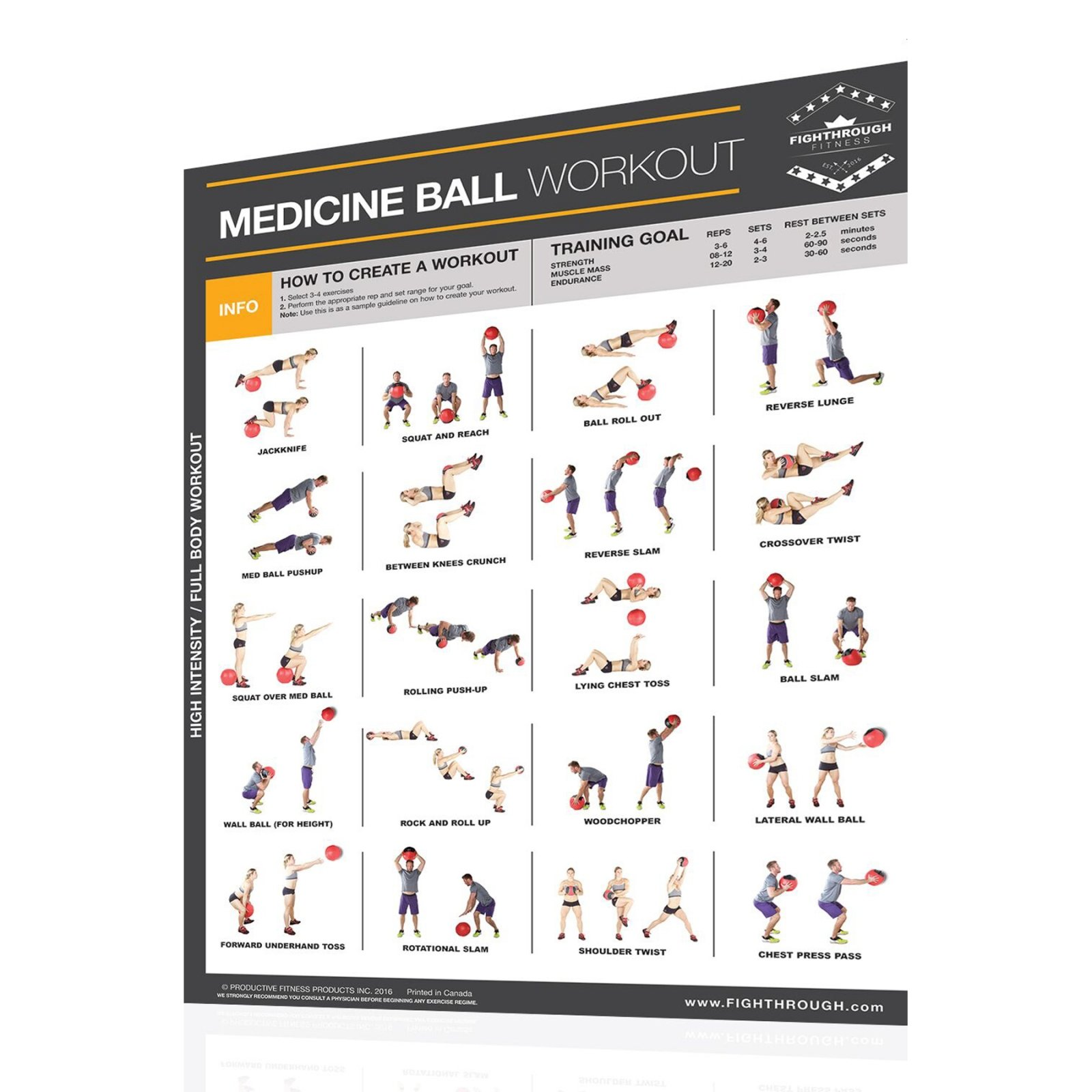 Productive Fitness Fighthrough Series Medicine Ball Poster