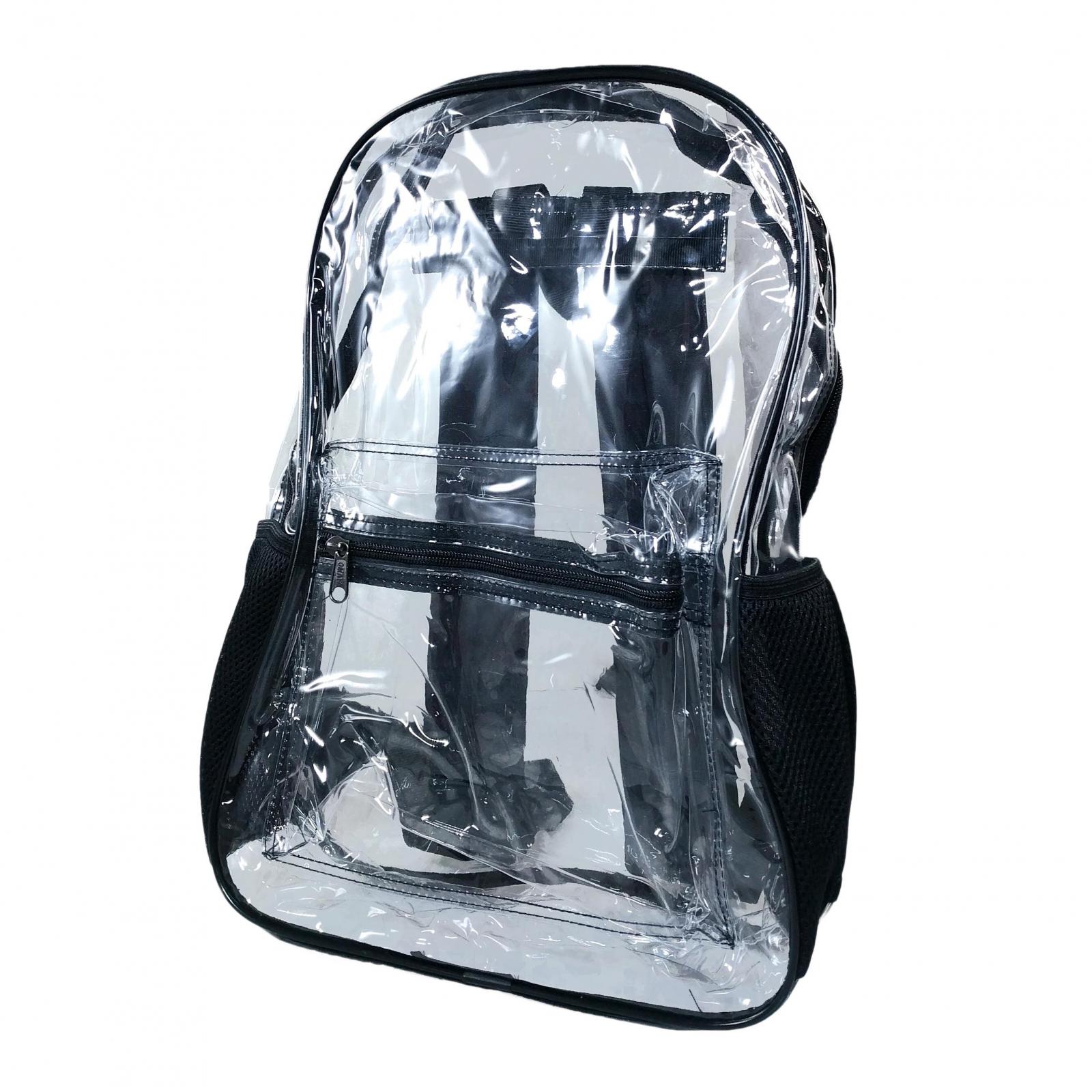 ASR Outdoor Transparent PVC Security Backpack Black Trim