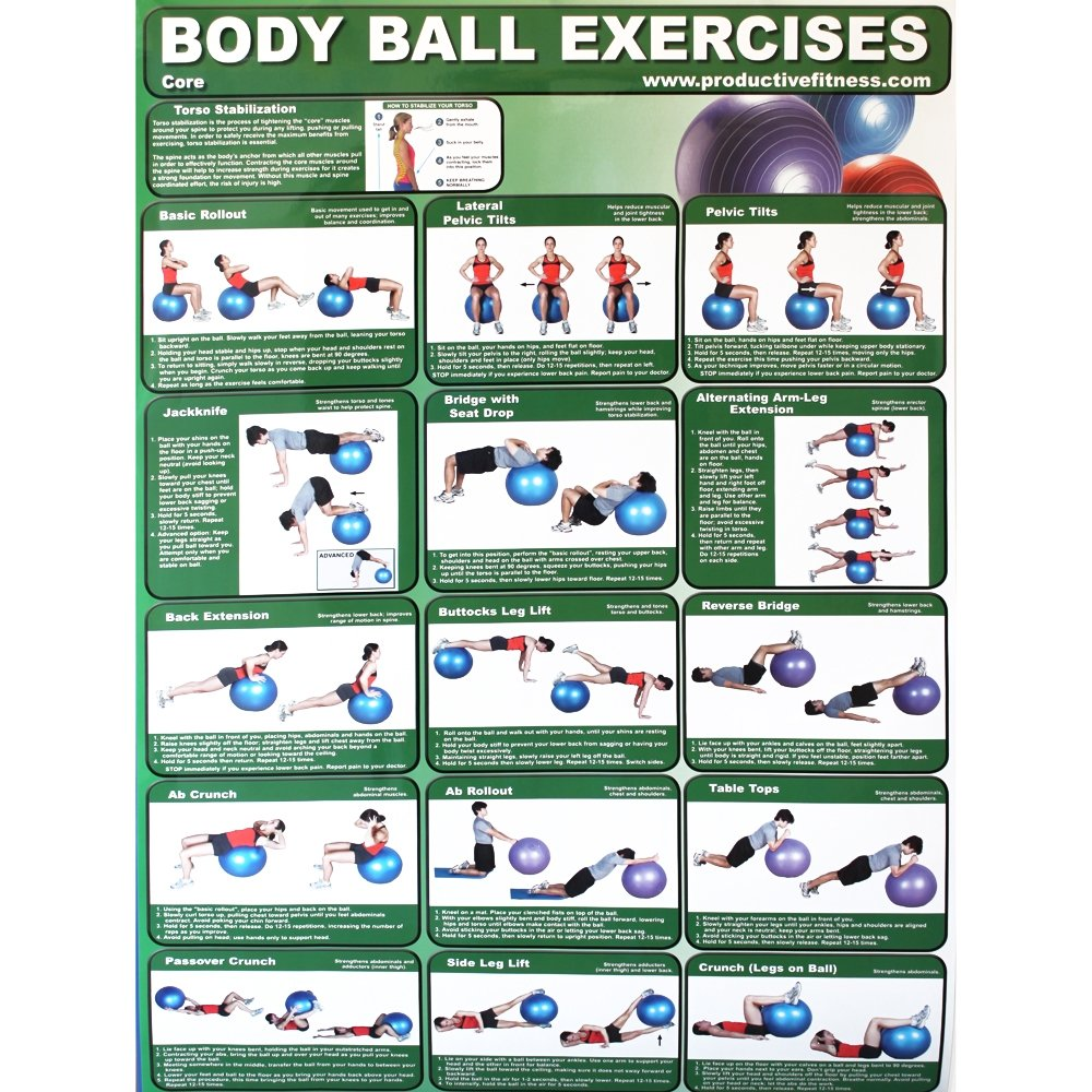 Productive Fitness and Health Instructional Poster Core Body Ball Exercise Chart