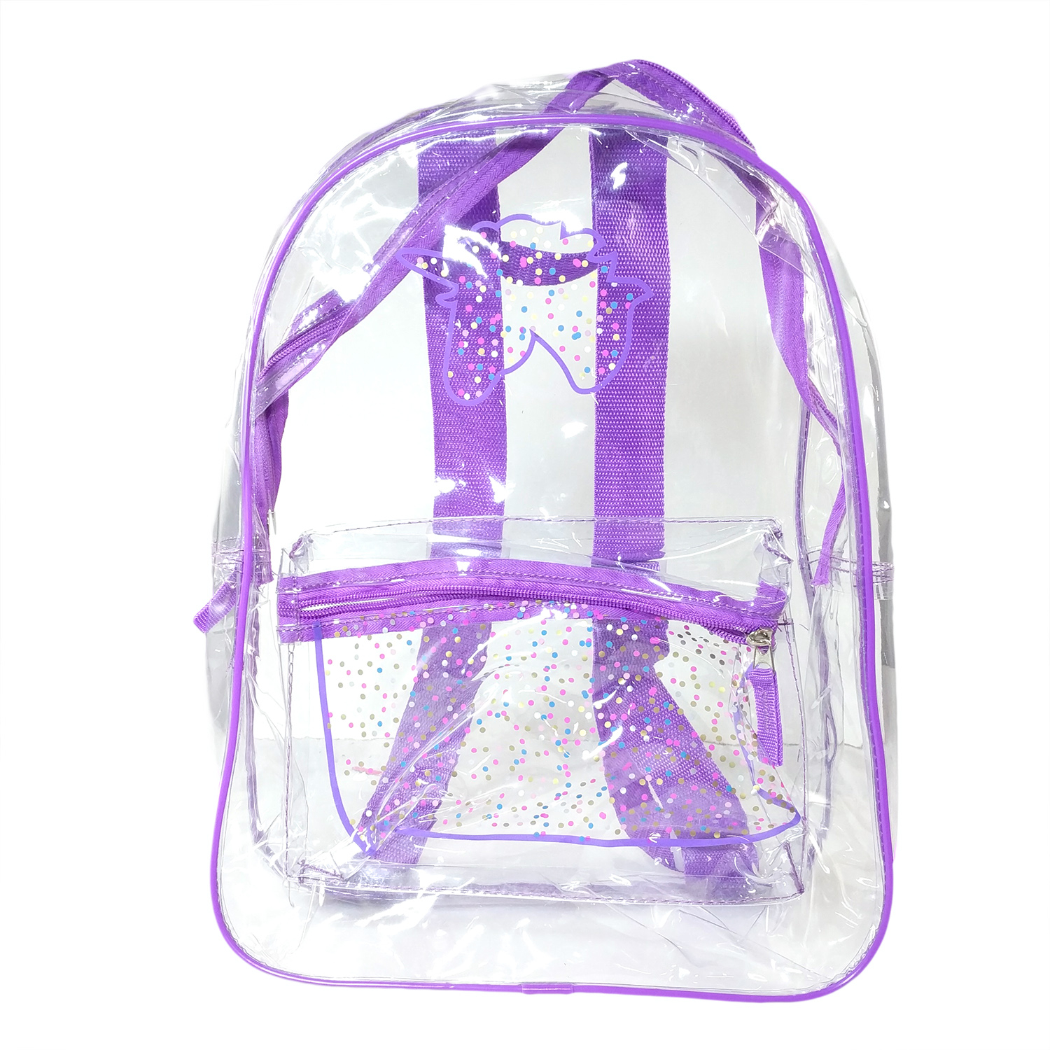 TychoTyke Girls Transparent School Backpack Clear PVC Purple