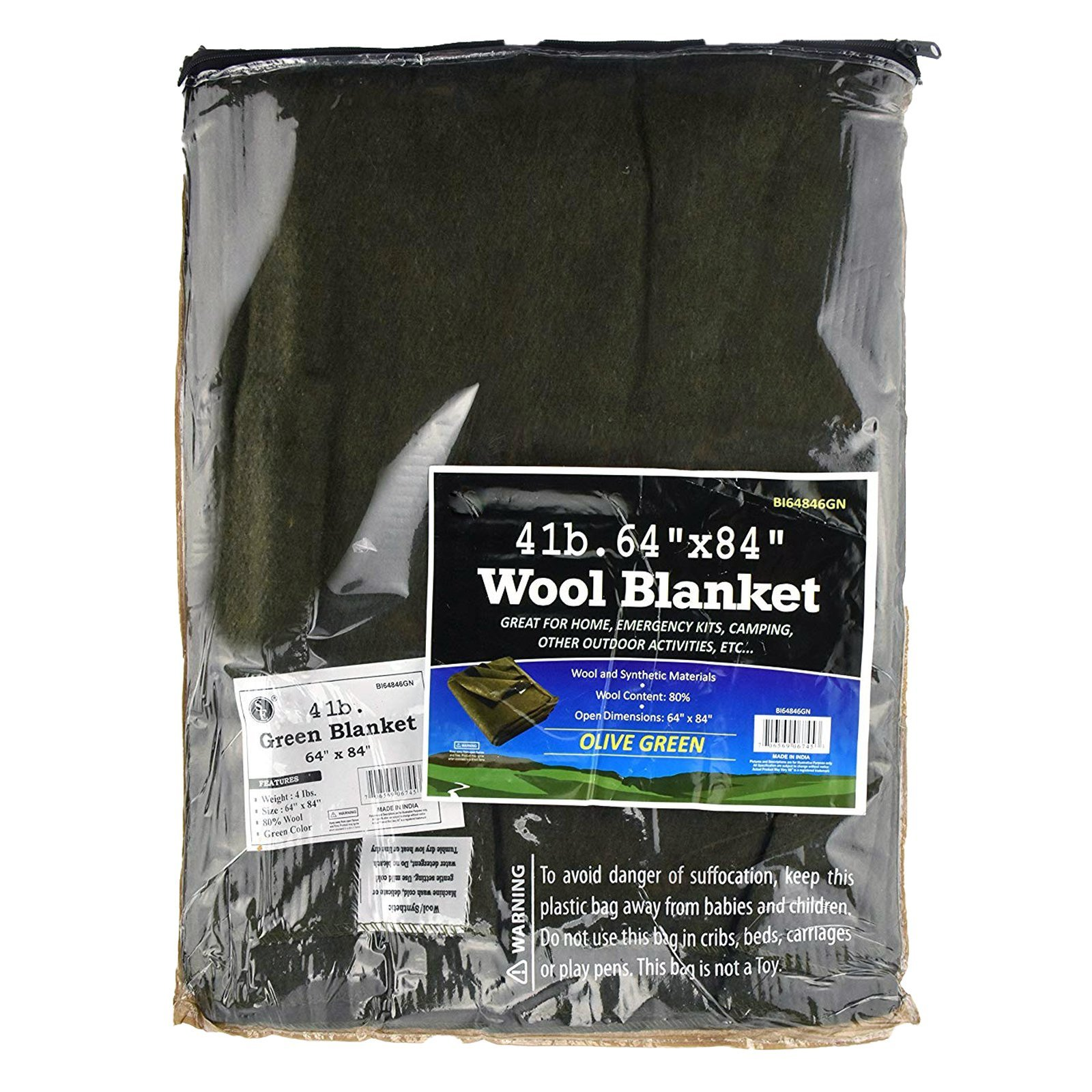 ASR Outdoor 64 inch x 84 inch Green Blanket 4 Pounds 80 Percent Wool