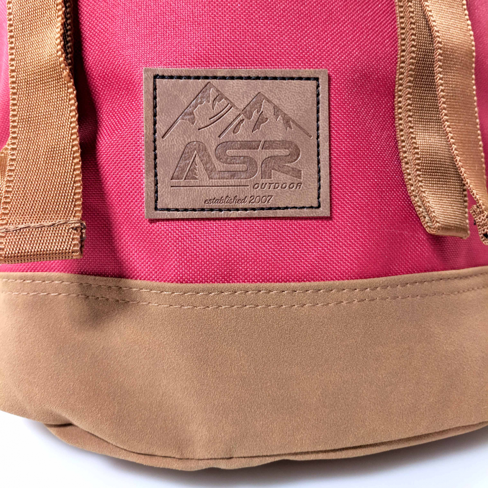 ASR Outdoor Journey Backpack Adjustable Straps Durable Polyester Red and Brown