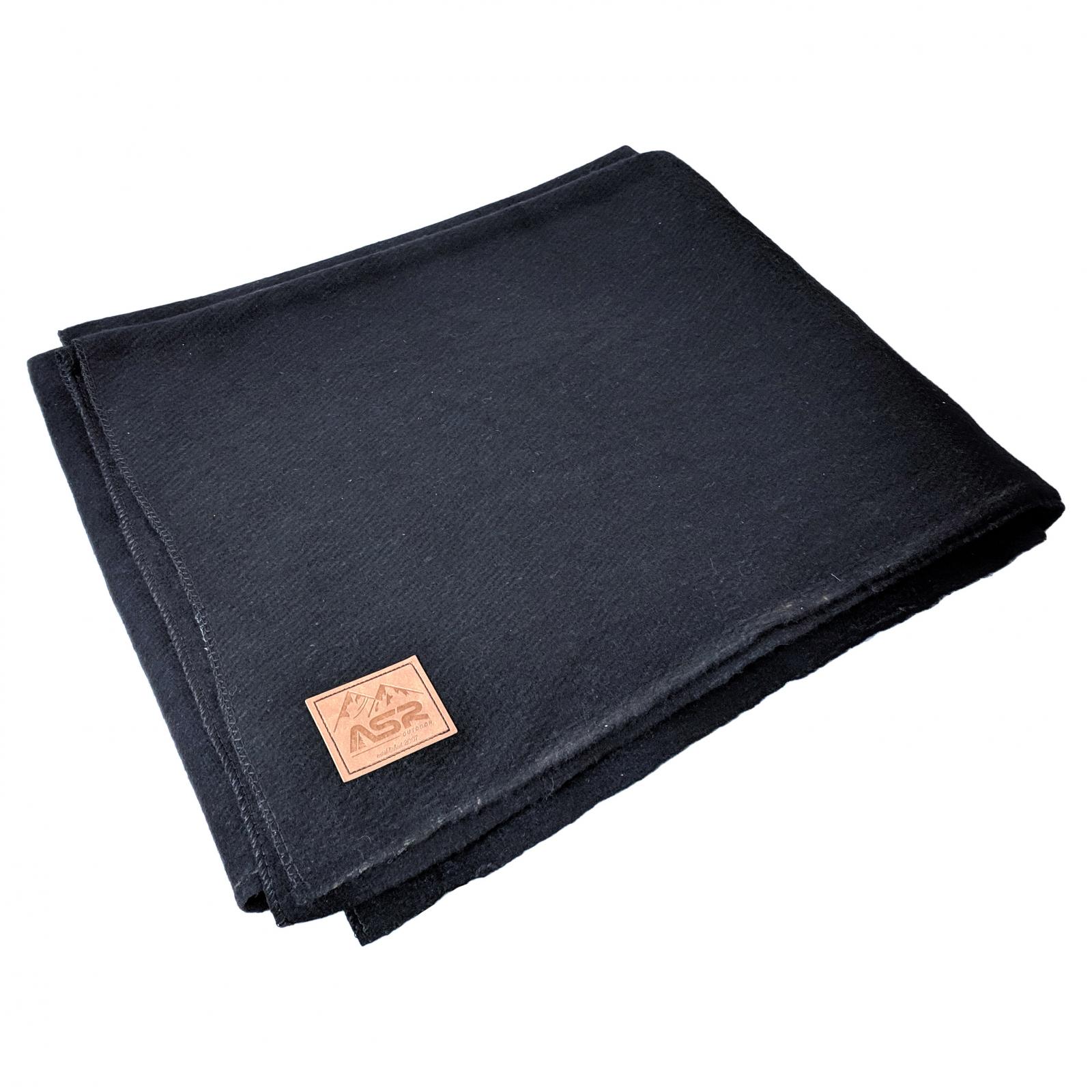 ASR Outdoor 64 inch x 84 inch Black Wool Blanket 4 Pound