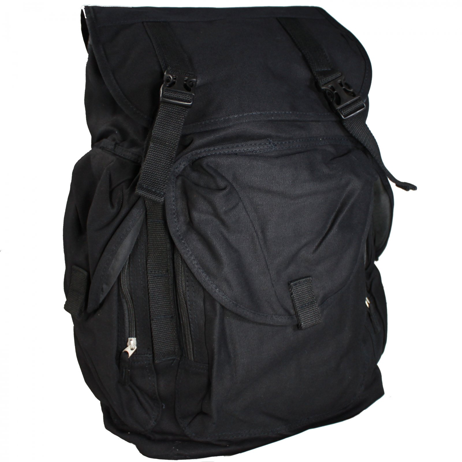 ASR Outdoor Day Hike Backpack 30L High Capacity Canvas Travel Rucksack - Black