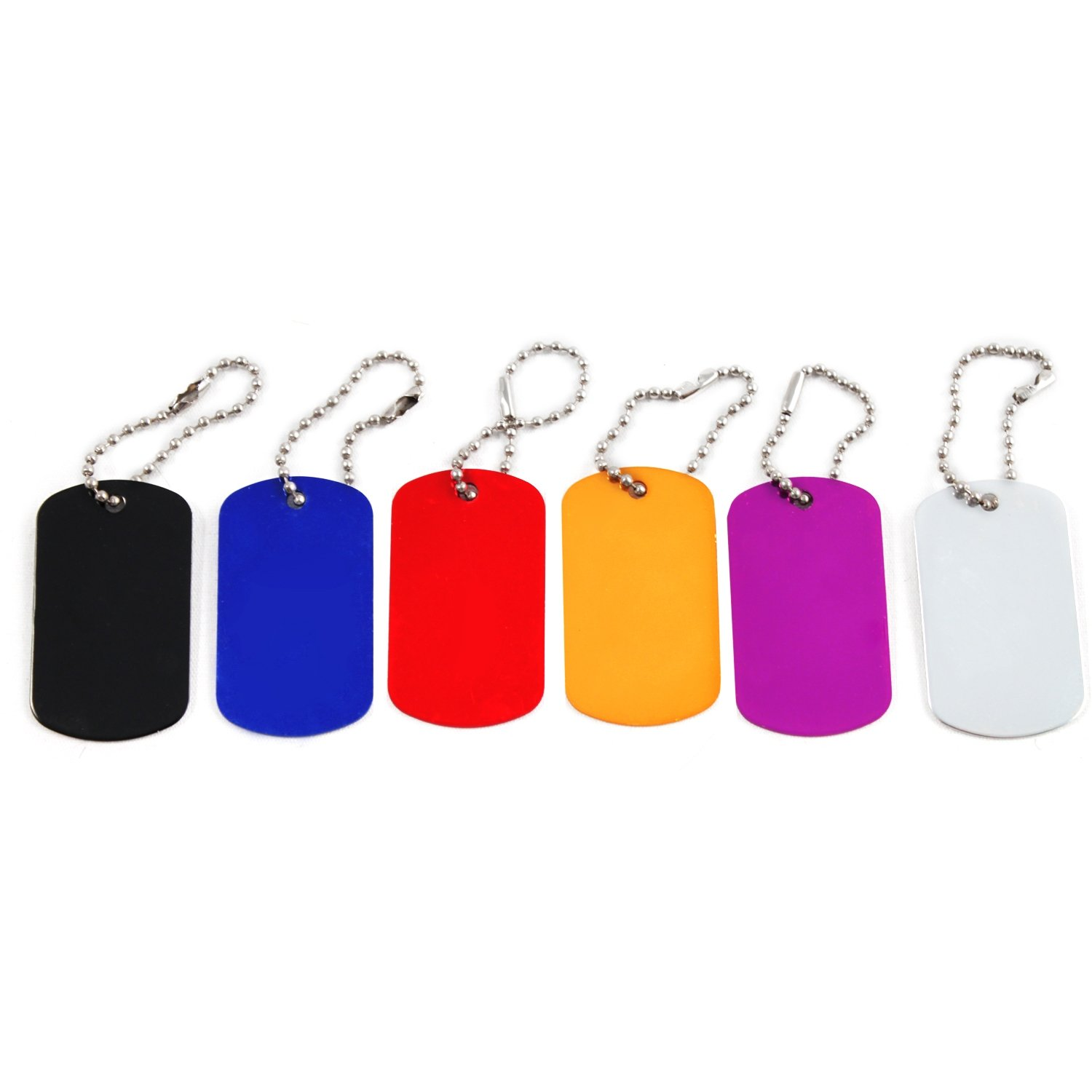 Aluminum Dog Tags Engraveable Blank Key Chains Military Identification 12 Pack