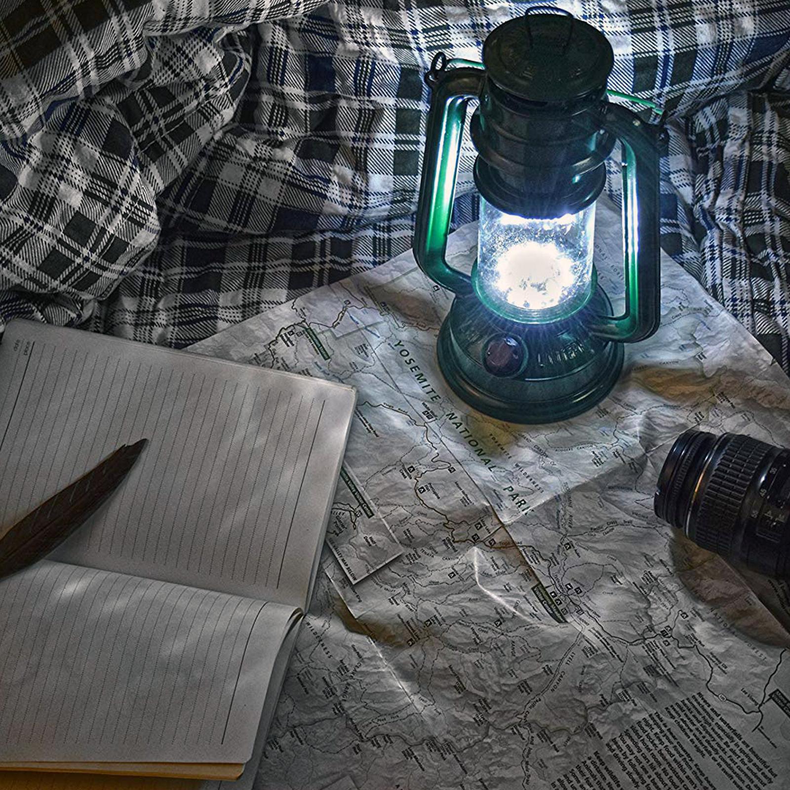 ASR Outdoor 15 LED 9.5 in Hurricane Hanging Lantern Camping Light Green