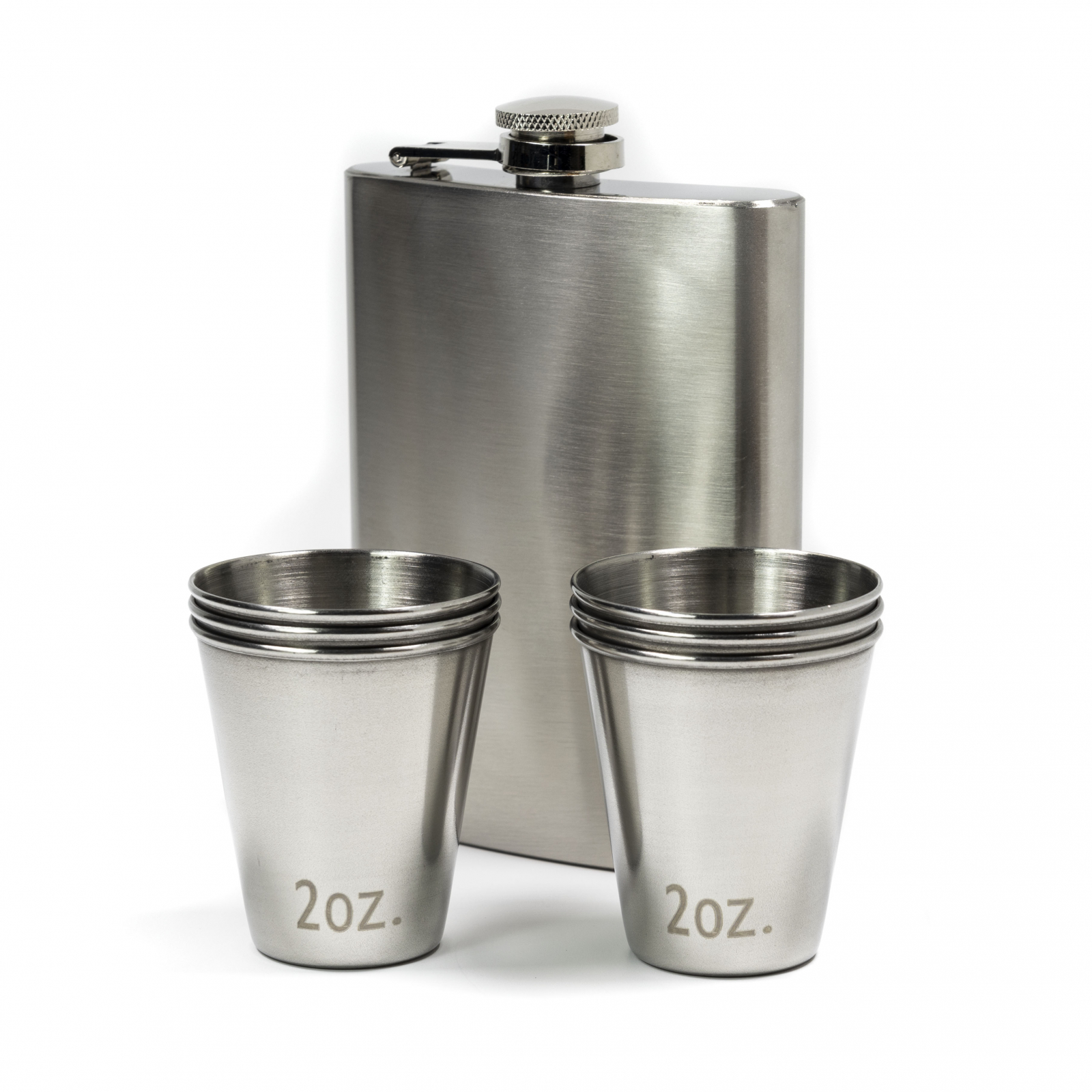 ASR Outdoor Stainless Steel Shot Glasses Hip Flask Combo 7pc