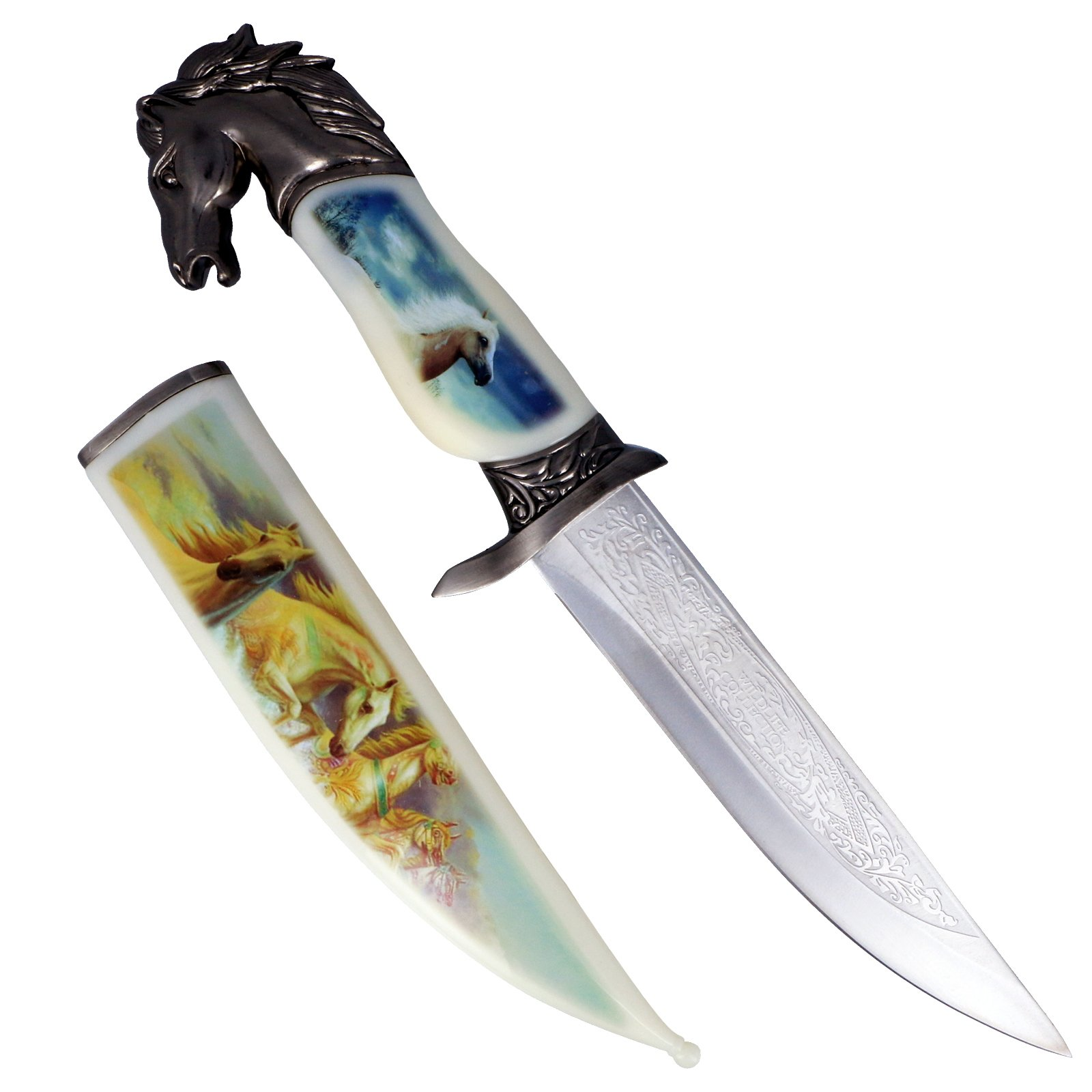 "13.5"" Collector's Knife with Horse Scabbard and Handle"