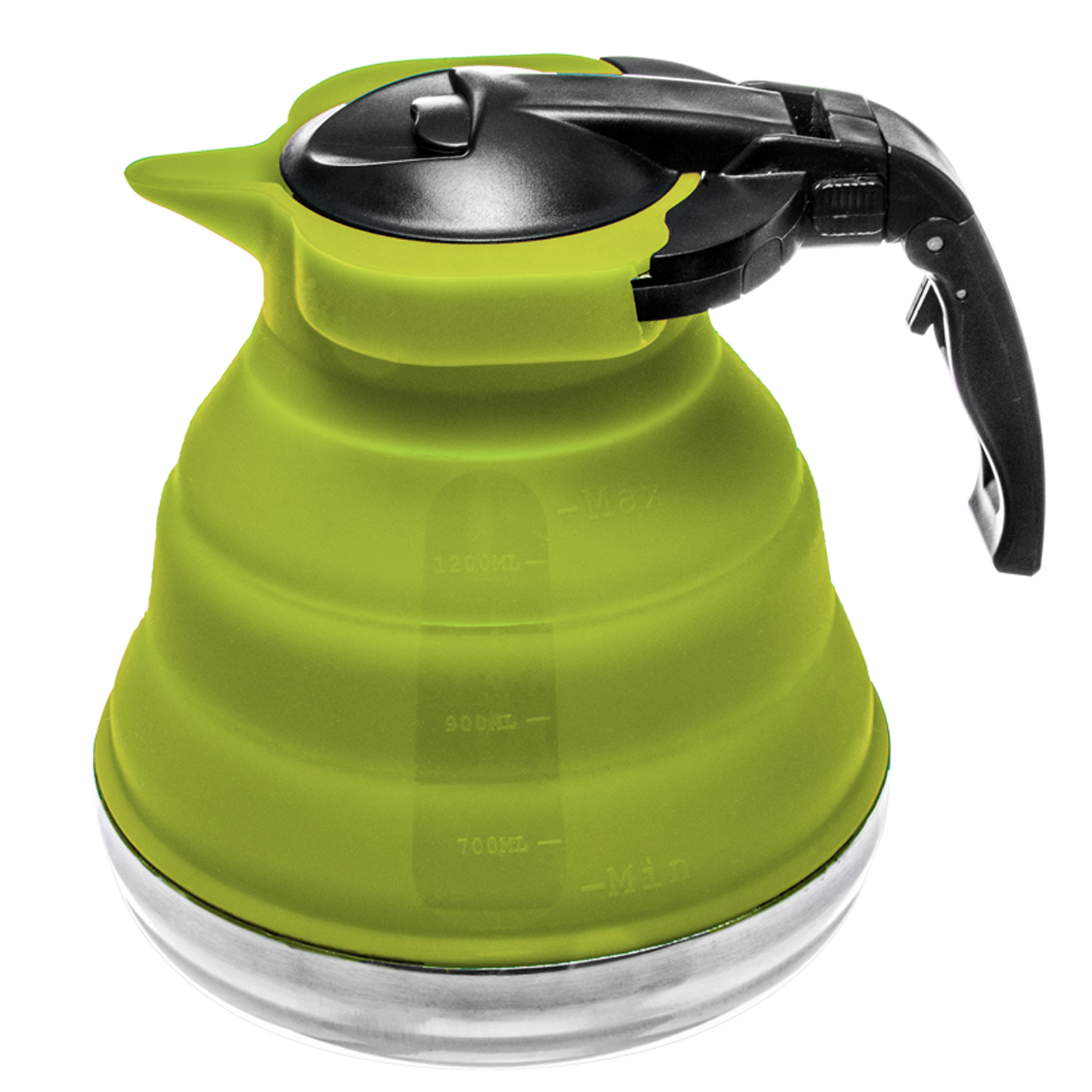 Collapsible Silicone Stainless Steel Base Kettle - Green