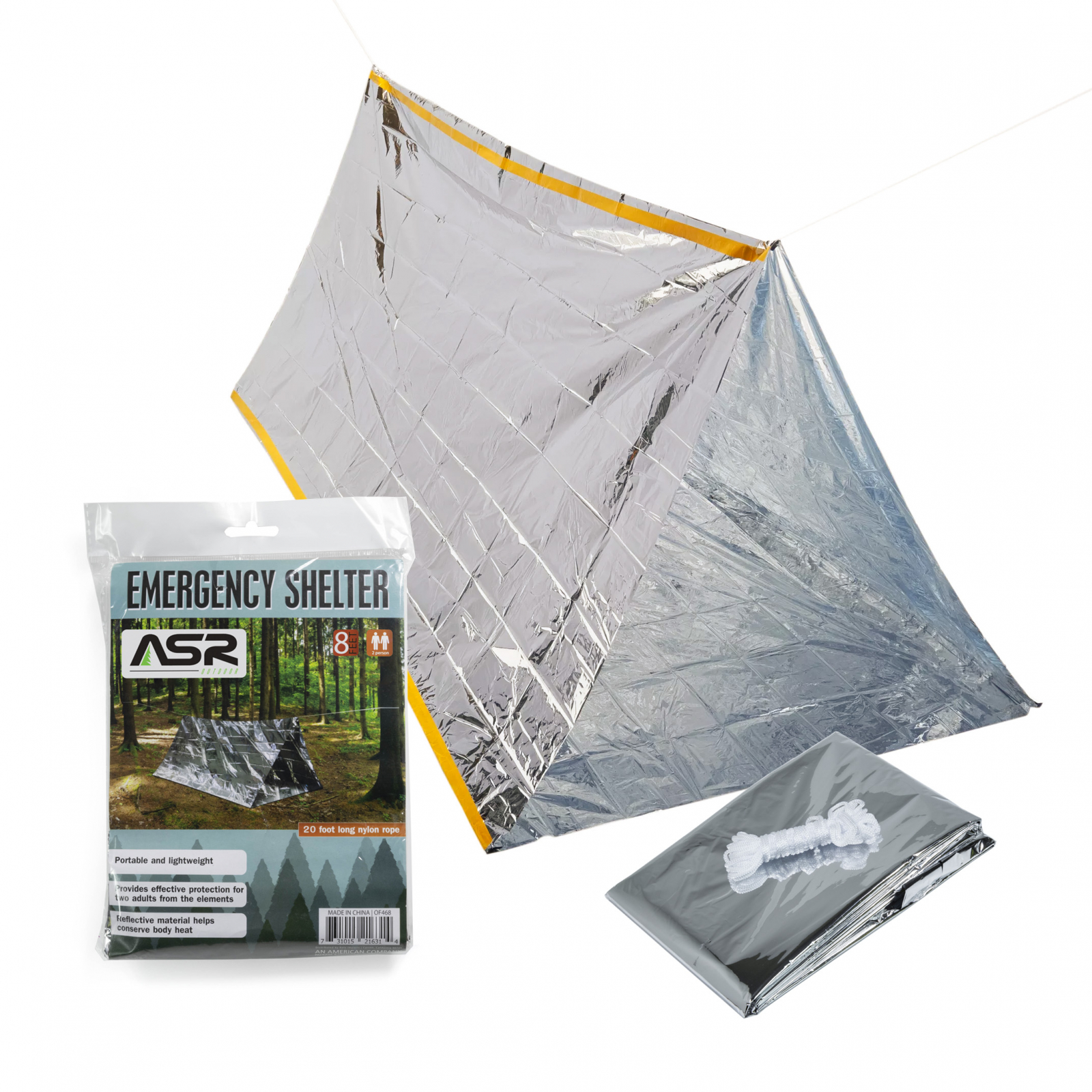 ASR Outdoor 2 Person Reflective Emergency Shelter Tent