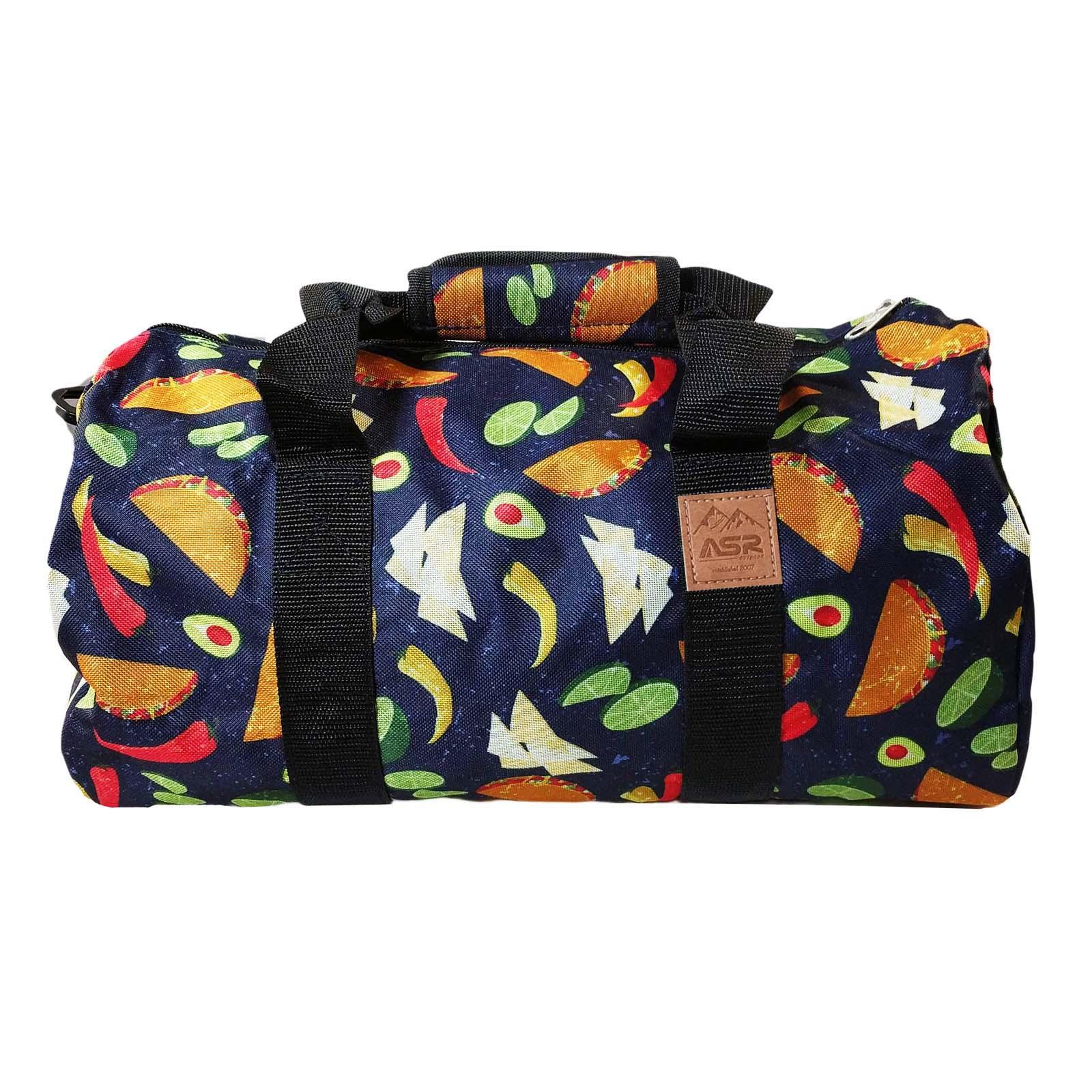 ASR Outdoor Tacos Pattern Duffel Bag Shoulder Strap Blue