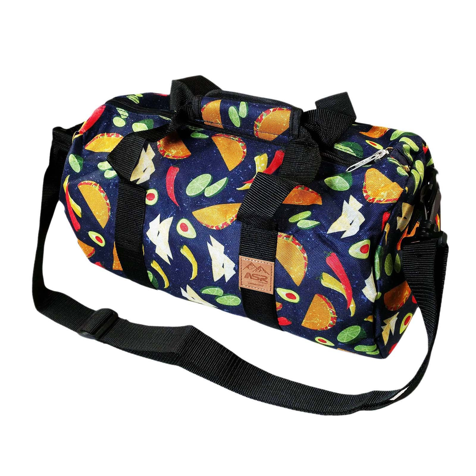 ASR Outdoor Tacos Pattern Duffel Bag Shoulder Strap Blue