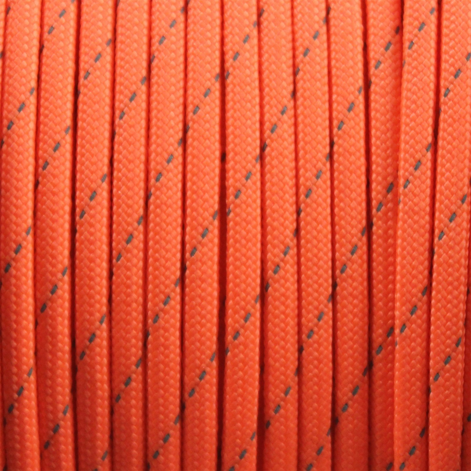 550lbs Strength Survival Paracord Rope Camping Hiking Reflective Orange- 50ft