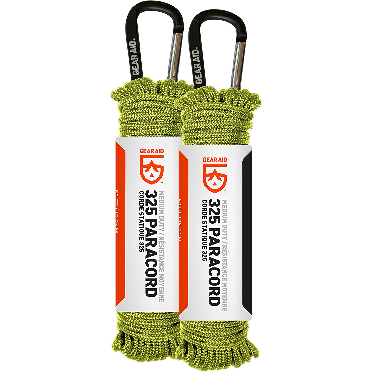 GEAR AID 325 Paracord and Carabiner, Utility Cord for Camping and Hiking, Nav Green, 2-pk