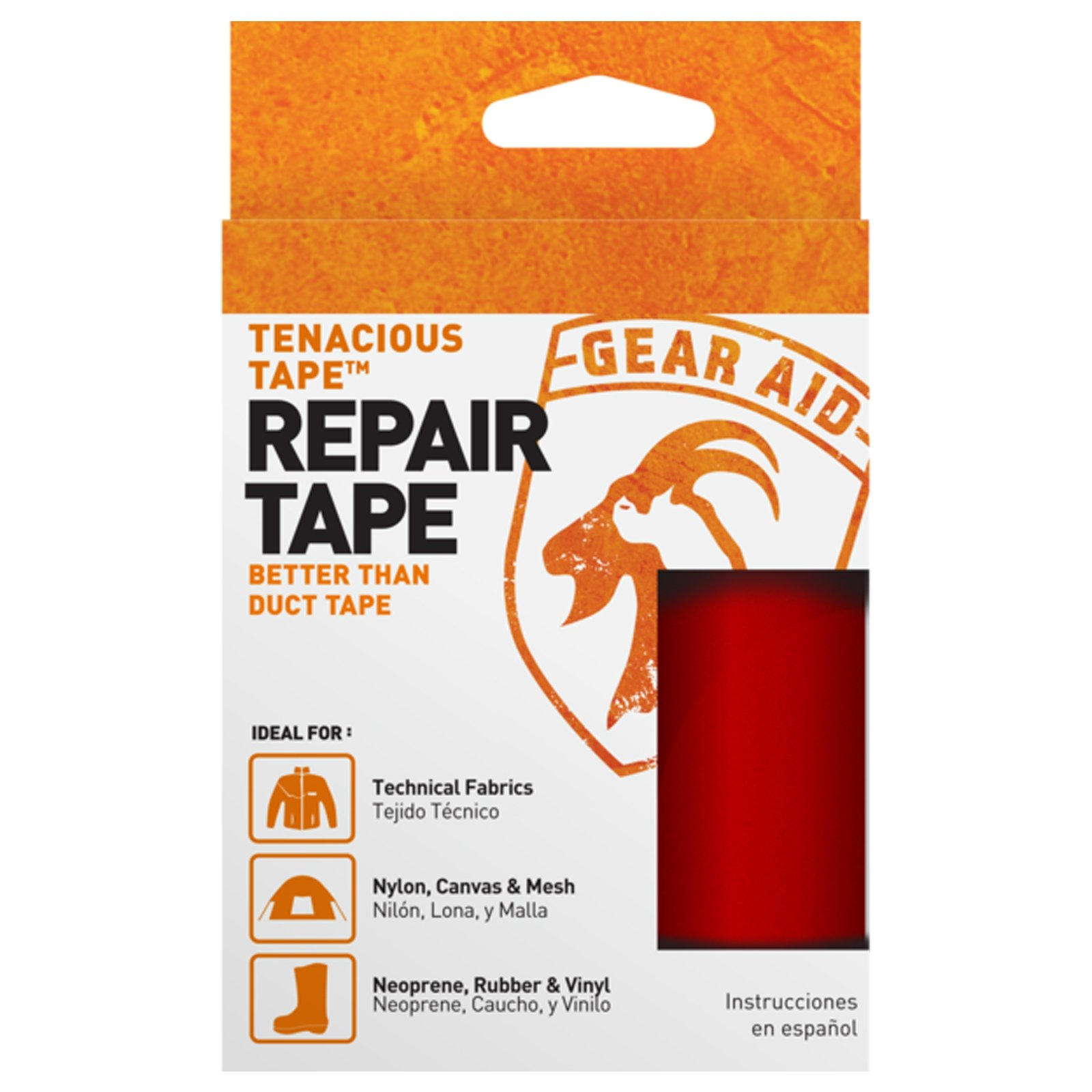 "McNett Tenacious Repair Tape Gear Aid Clean Adhesive All Purpose Outdoor Gear in Red for No Sticky Messes and 3"" x 20"""
