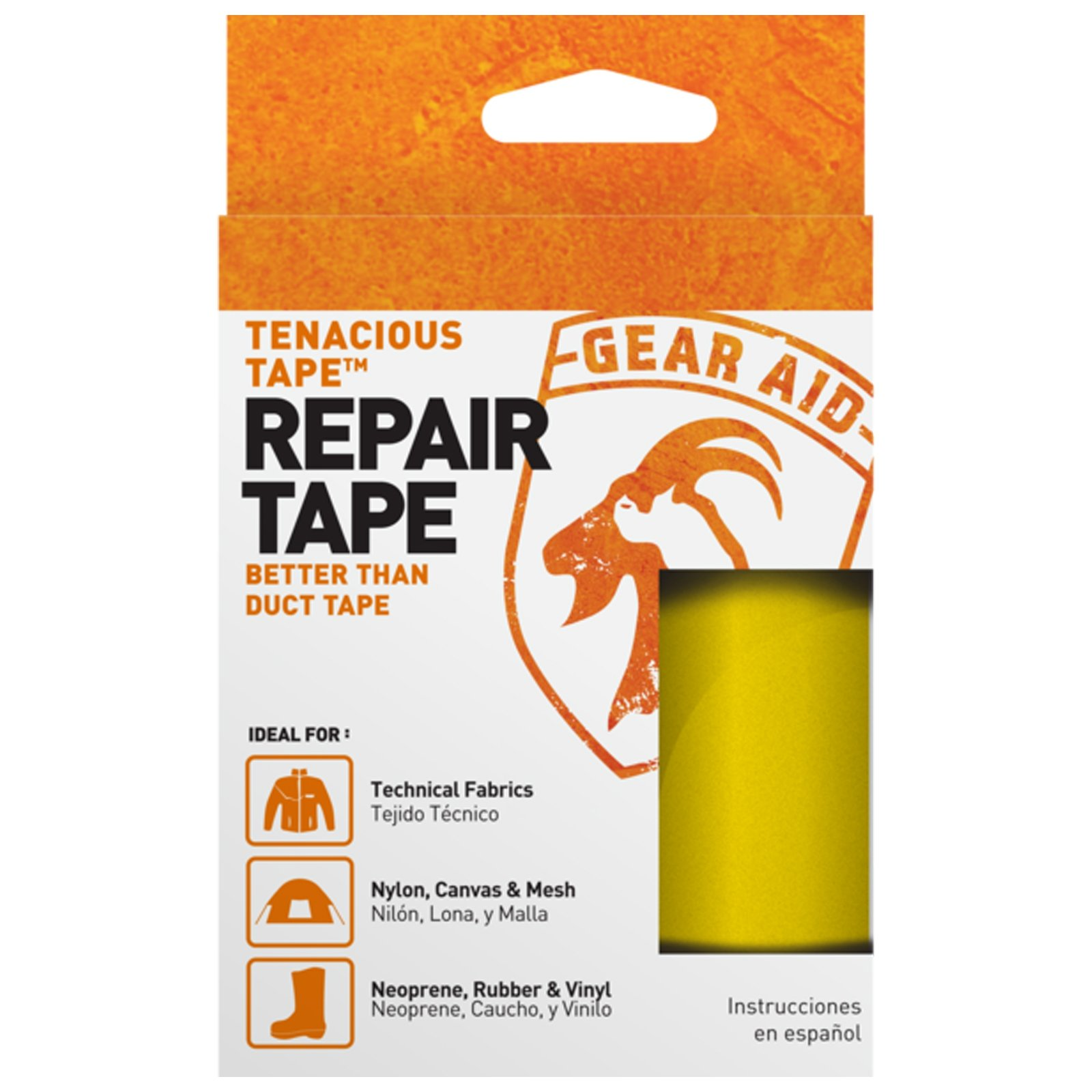"McNett Tenacious Repair Tape Gear Aid Clean Adhesive All Purpose Outdoor Gear in Yellow for No Sticky Messes and 3"" x 20"""